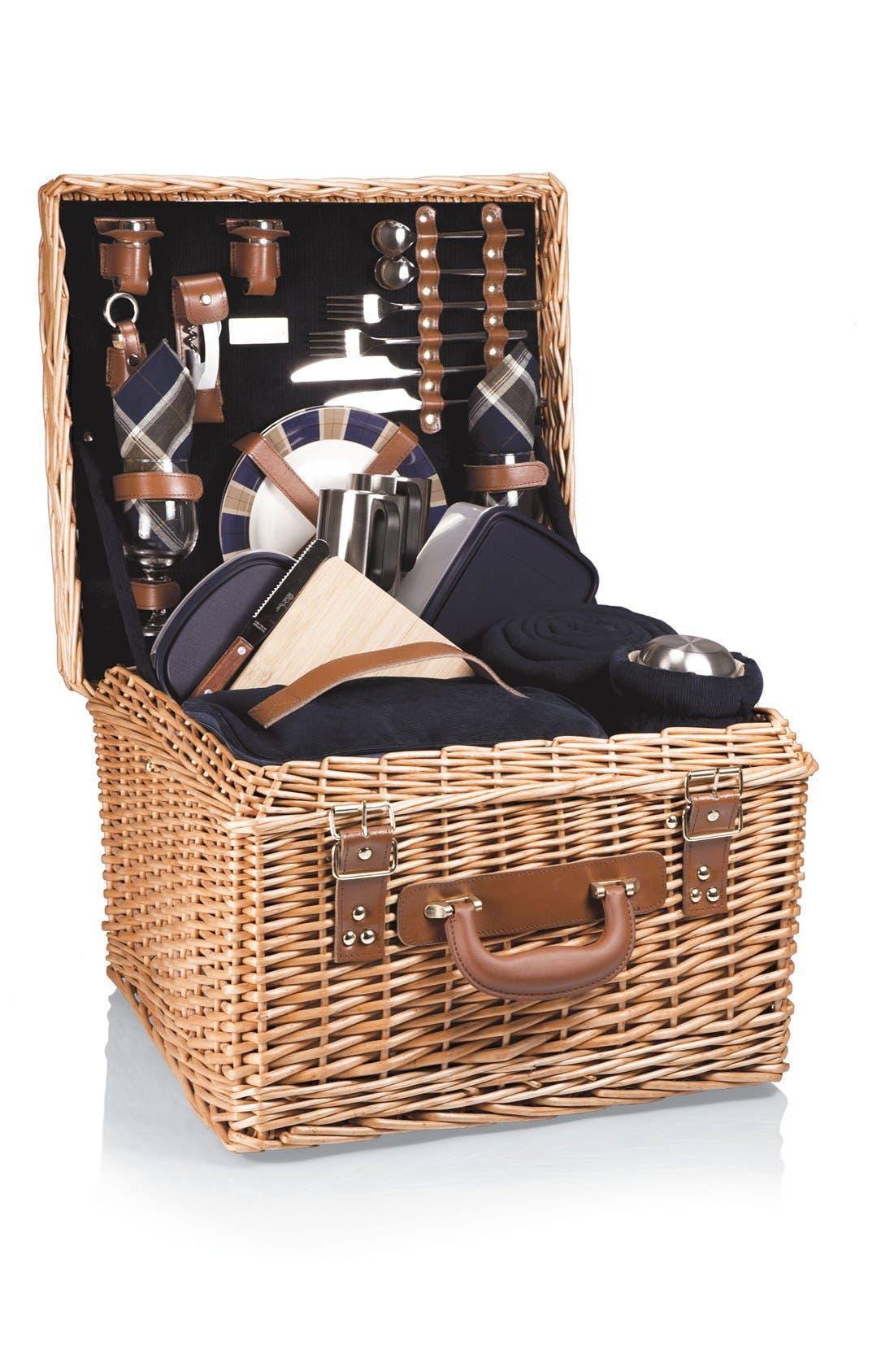 'Canterbury' Wicker Picnic Basket,                             Alternate thumbnail 3, color,                             400