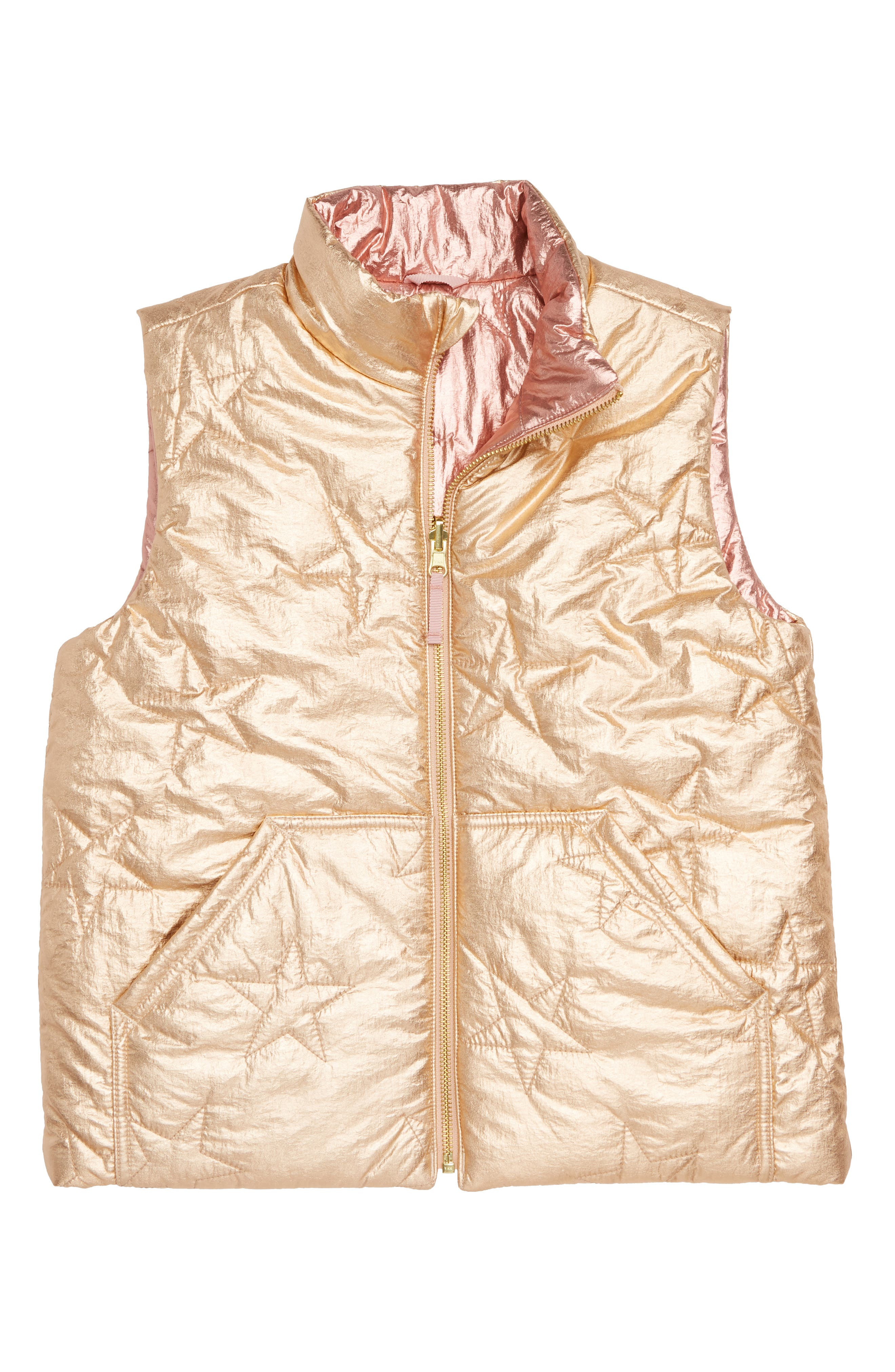 Metallic Reversible Puffer Vest,                             Main thumbnail 1, color,                             ROSE GOLD