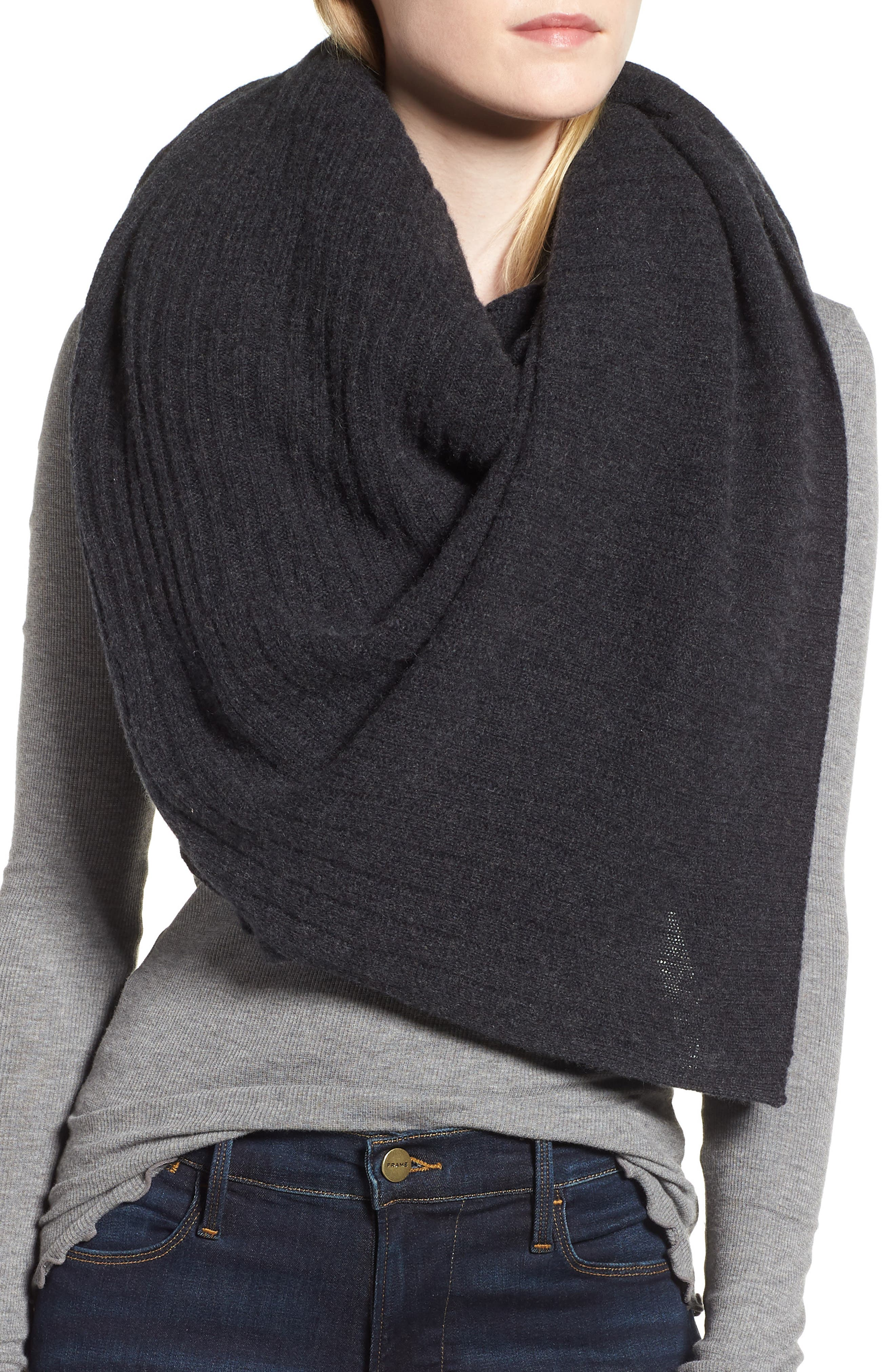 Ribbed Cashmere Wrap,                             Alternate thumbnail 4, color,                             001