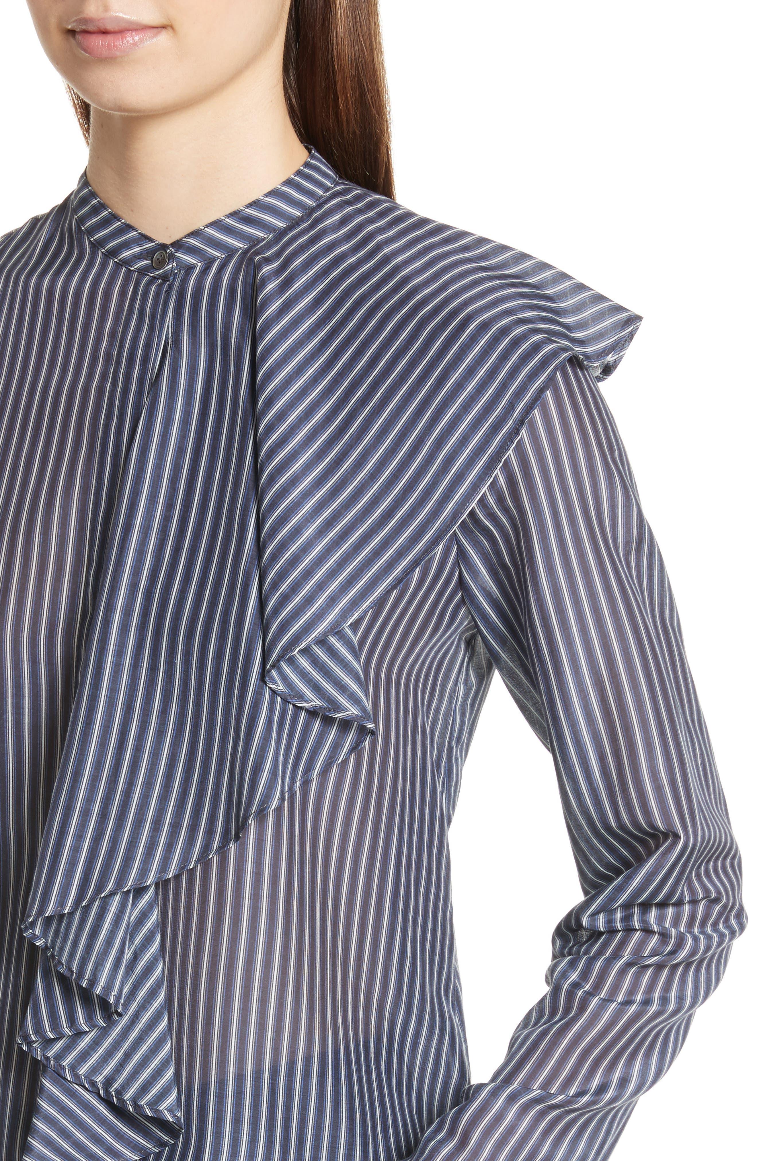 Vertical Stripe Ruffle Shirt,                             Alternate thumbnail 4, color,                             400