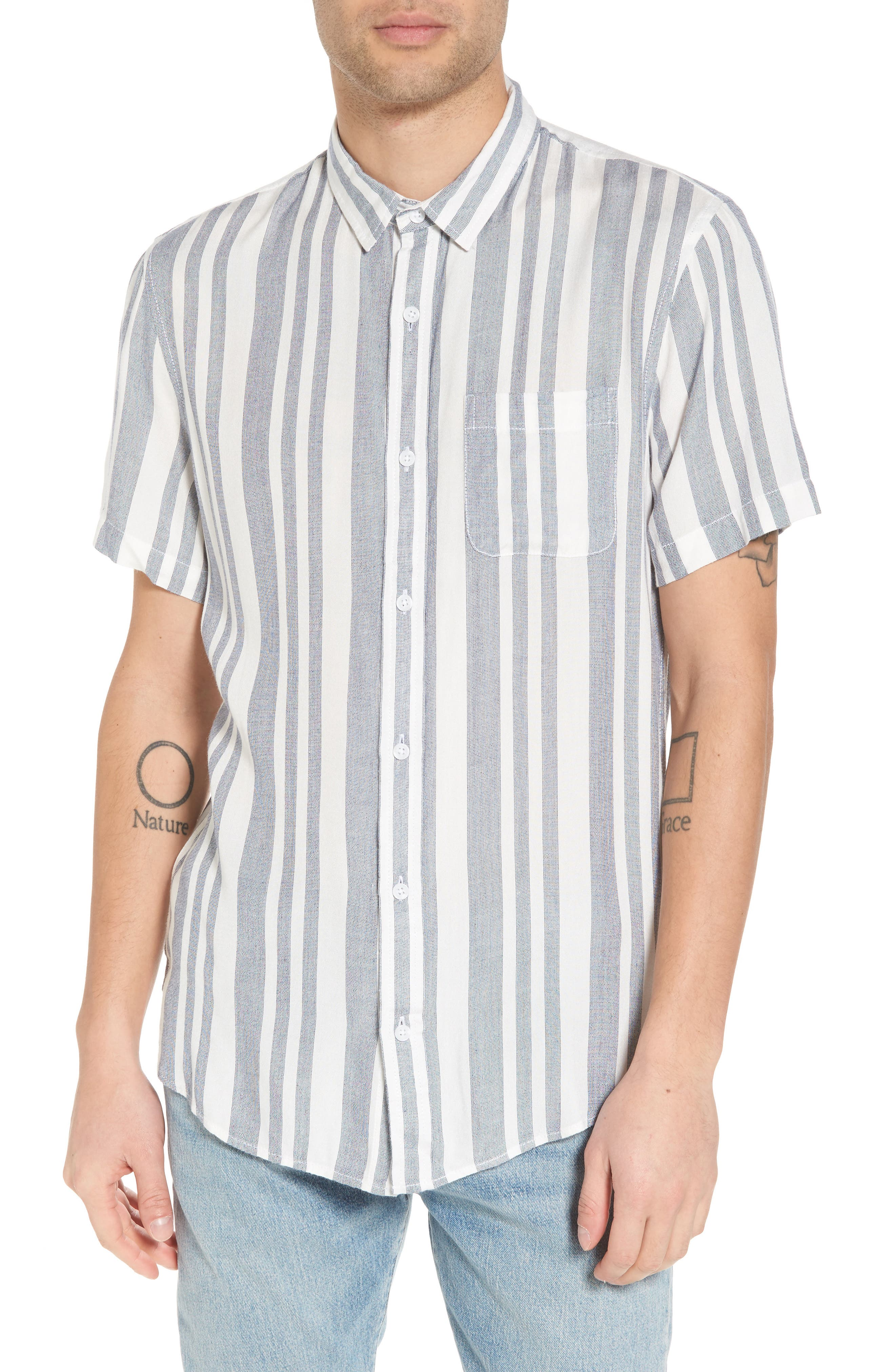 Stripe Woven Shirt,                         Main,                         color, NAVY WHITE EOE STRIPE
