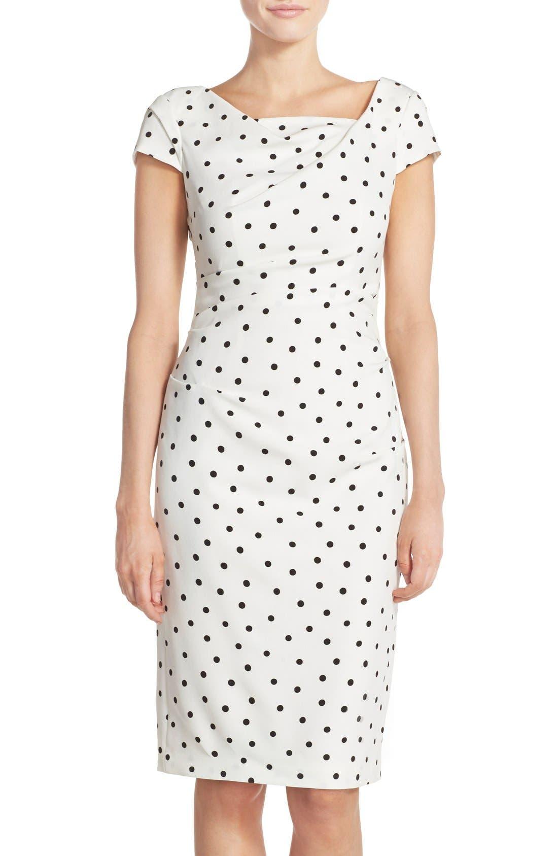ADRIANNA PAPELL,                             Polka Dot Crepe Sheath Dress,                             Main thumbnail 1, color,                             900