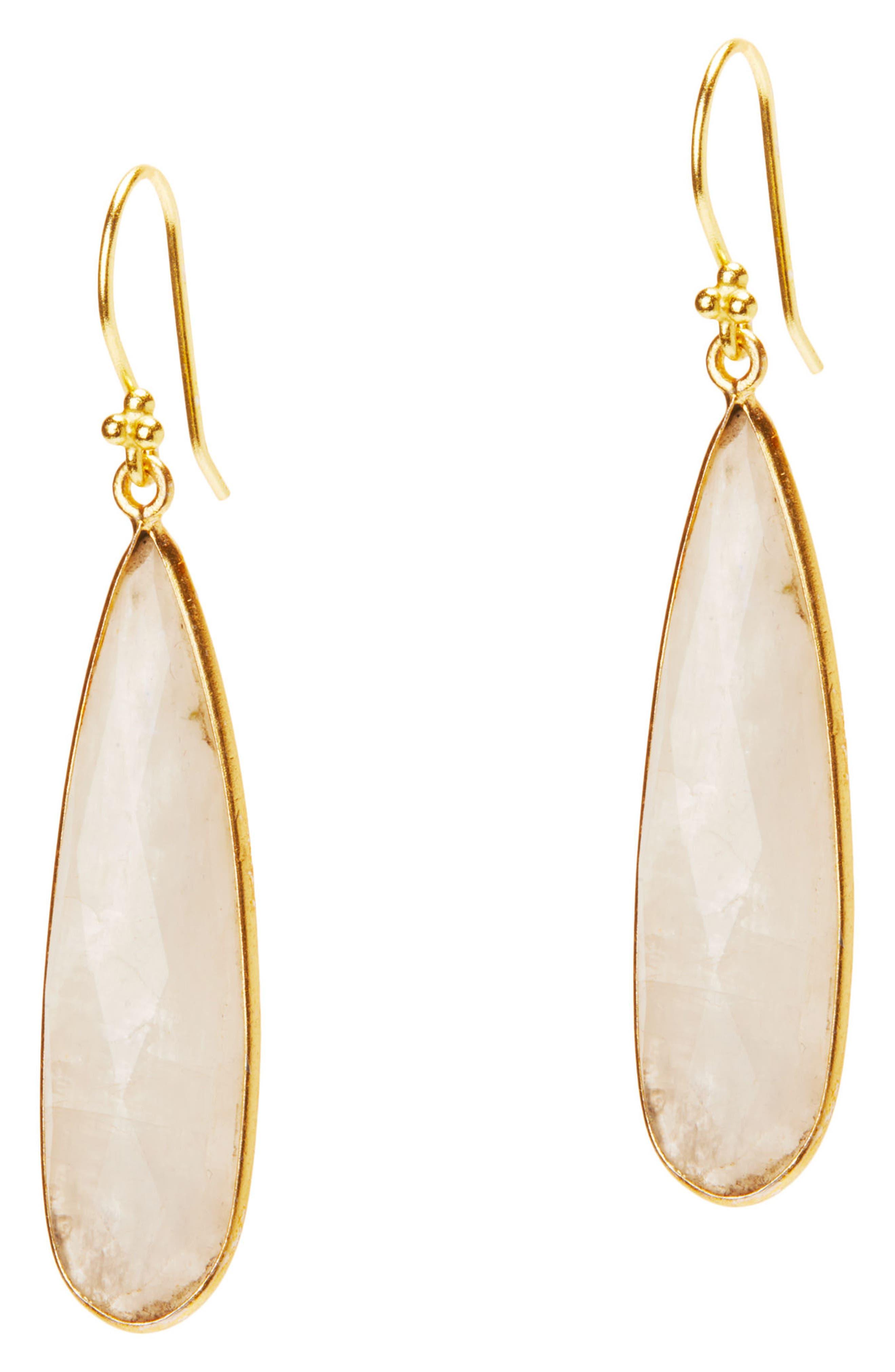 Newport Semiprecious Stone Teardrop Earrings,                             Main thumbnail 1, color,                             MOONSTONE
