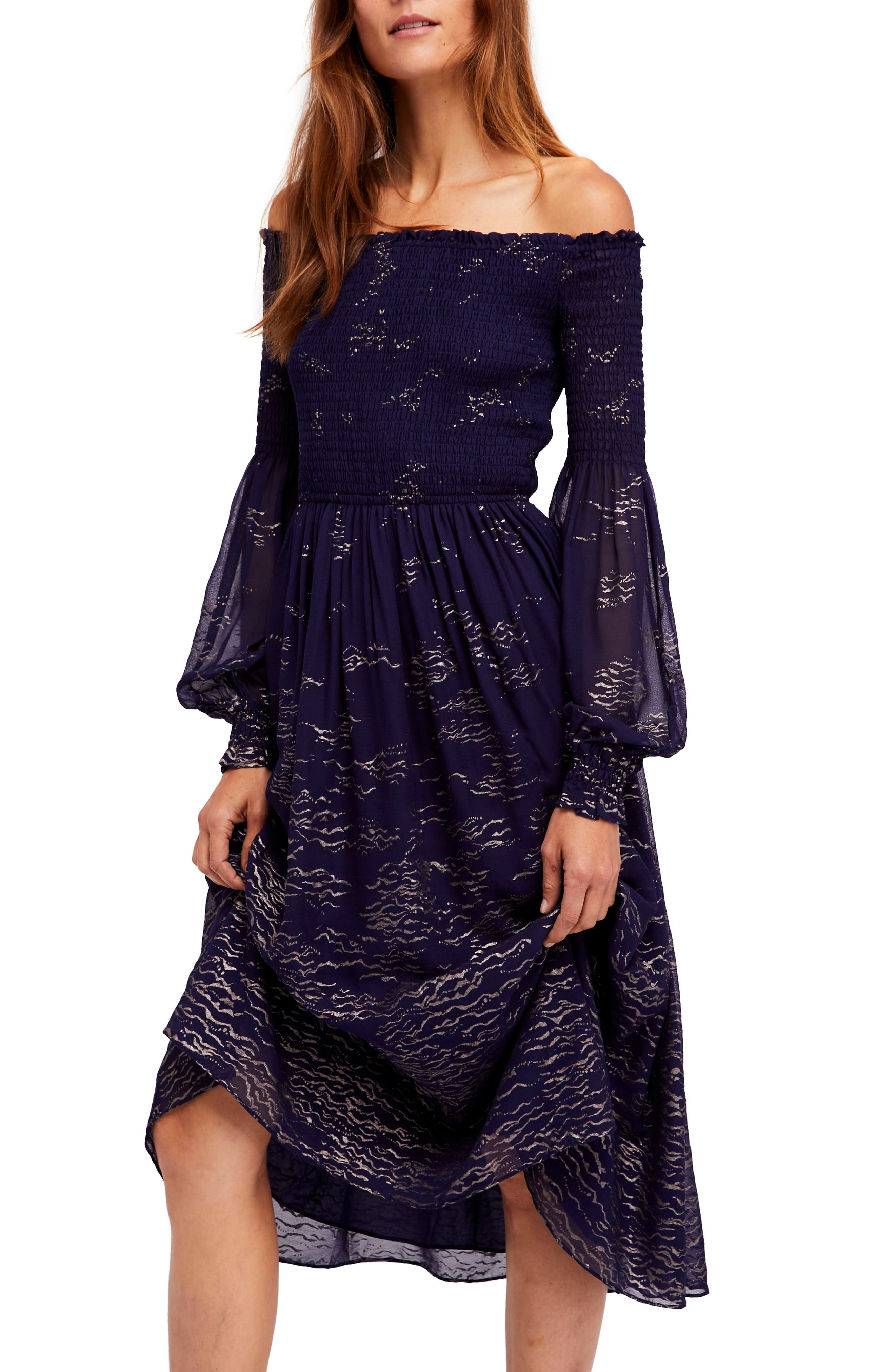 Foiled Smocked Midi Dress,                             Alternate thumbnail 5, color,                             400