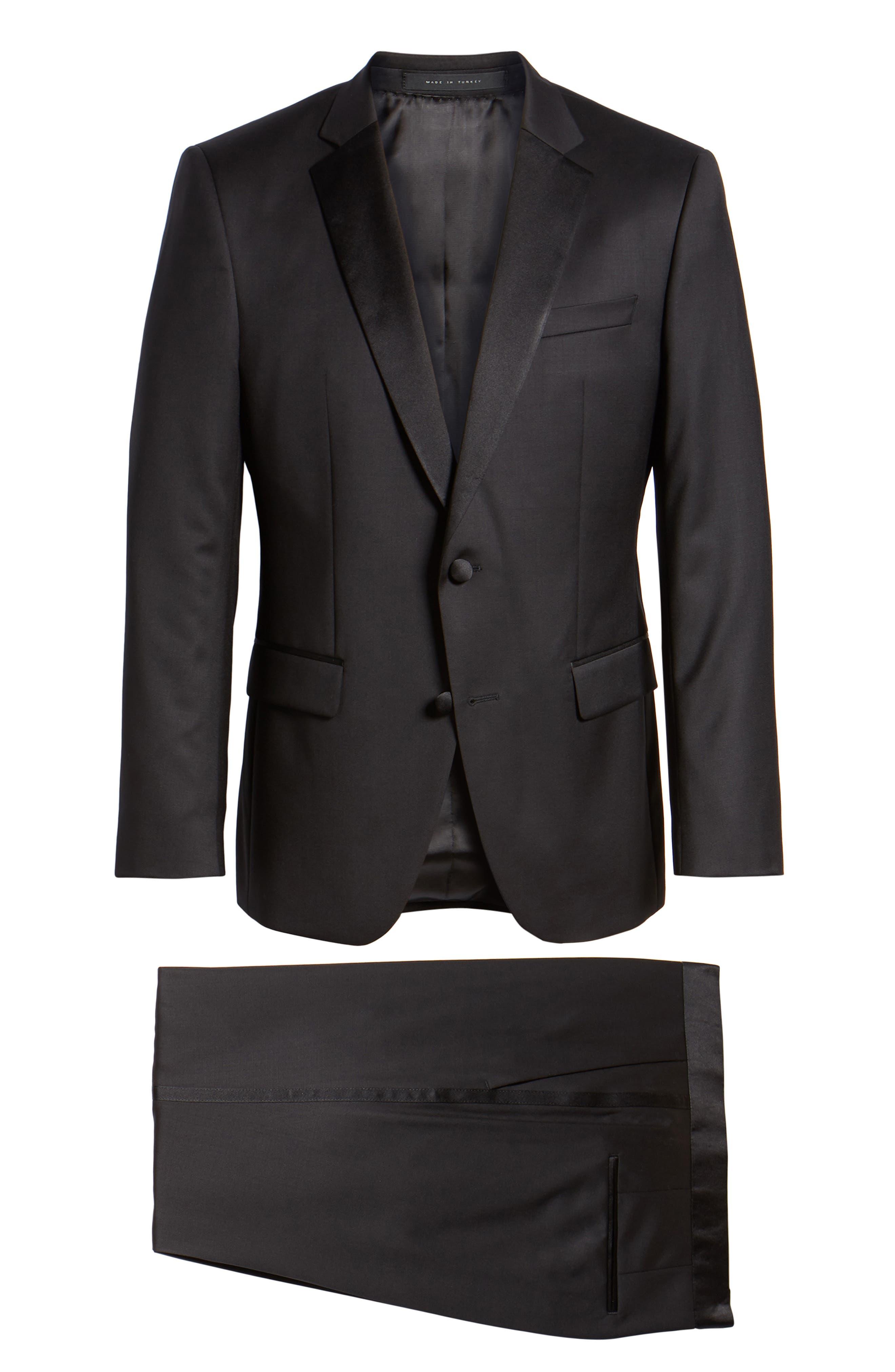Halven/Gentry Trim Fit Wool Tuxedo,                             Alternate thumbnail 8, color,                             BLACK