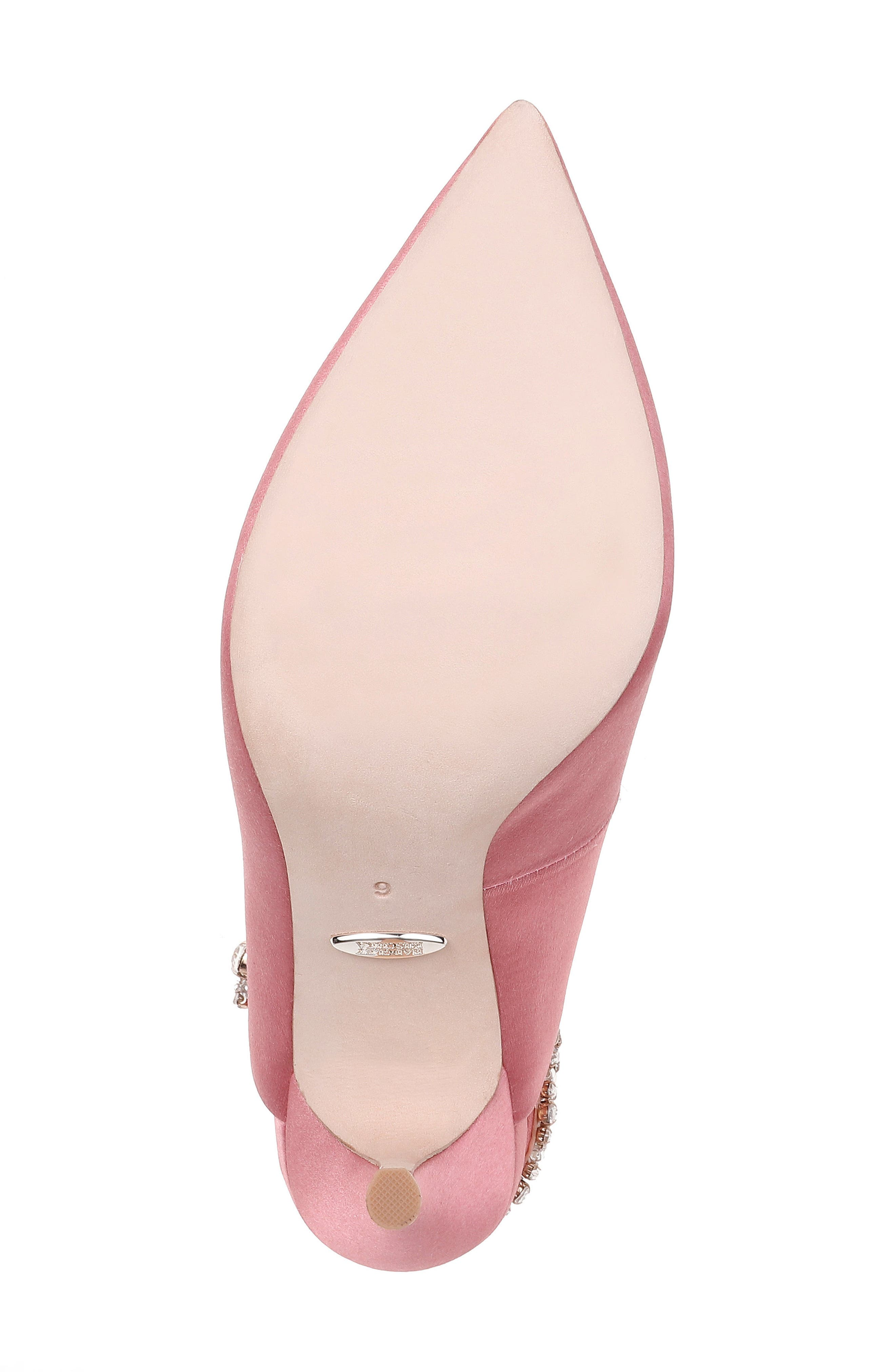 Paxton Pointy Toe Slingback Pump,                             Alternate thumbnail 6, color,                             ROSE SATIN