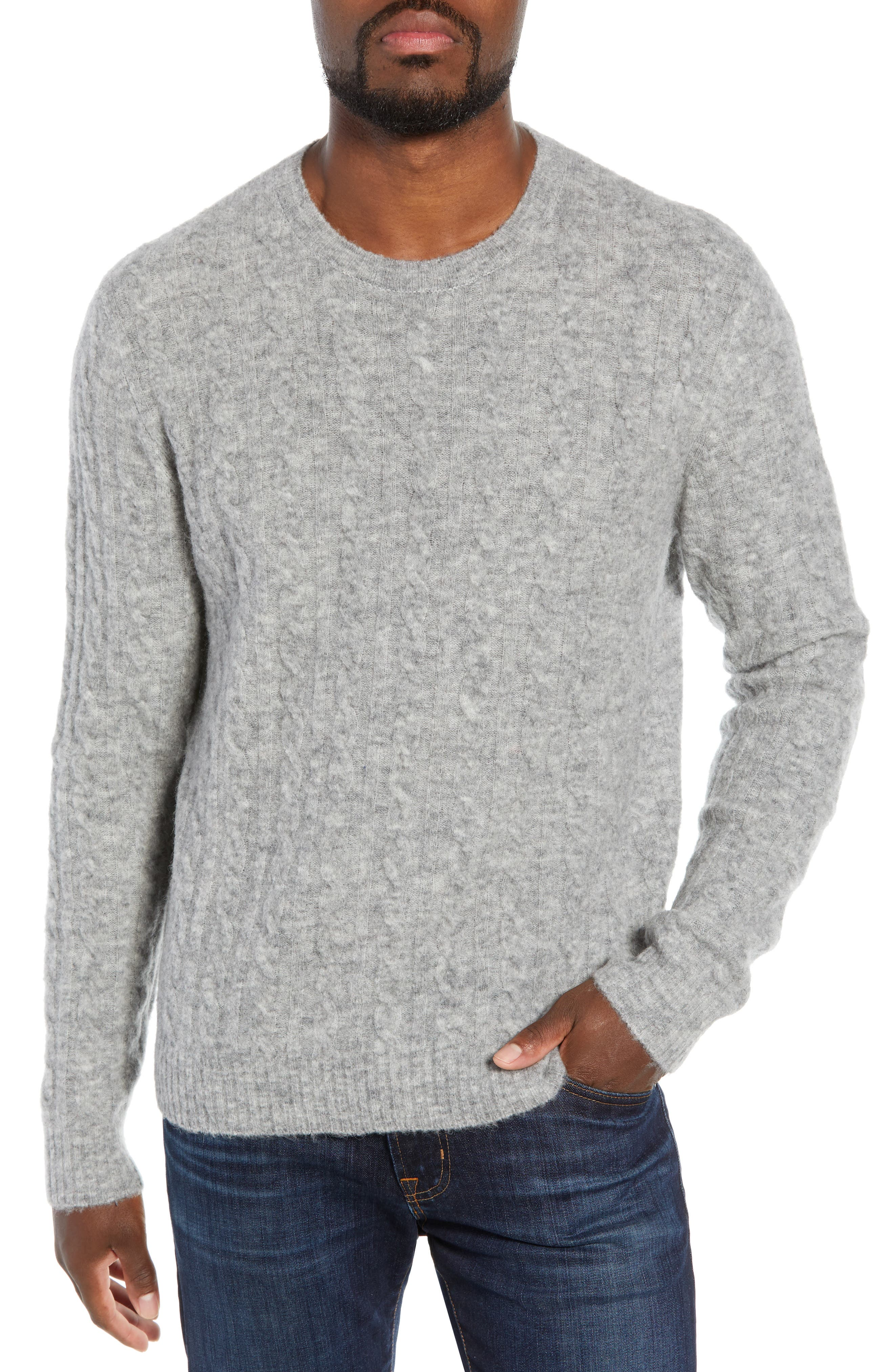 Slim Fit Cable Wool Blend Sweater,                         Main,                         color, HEATHER GREY