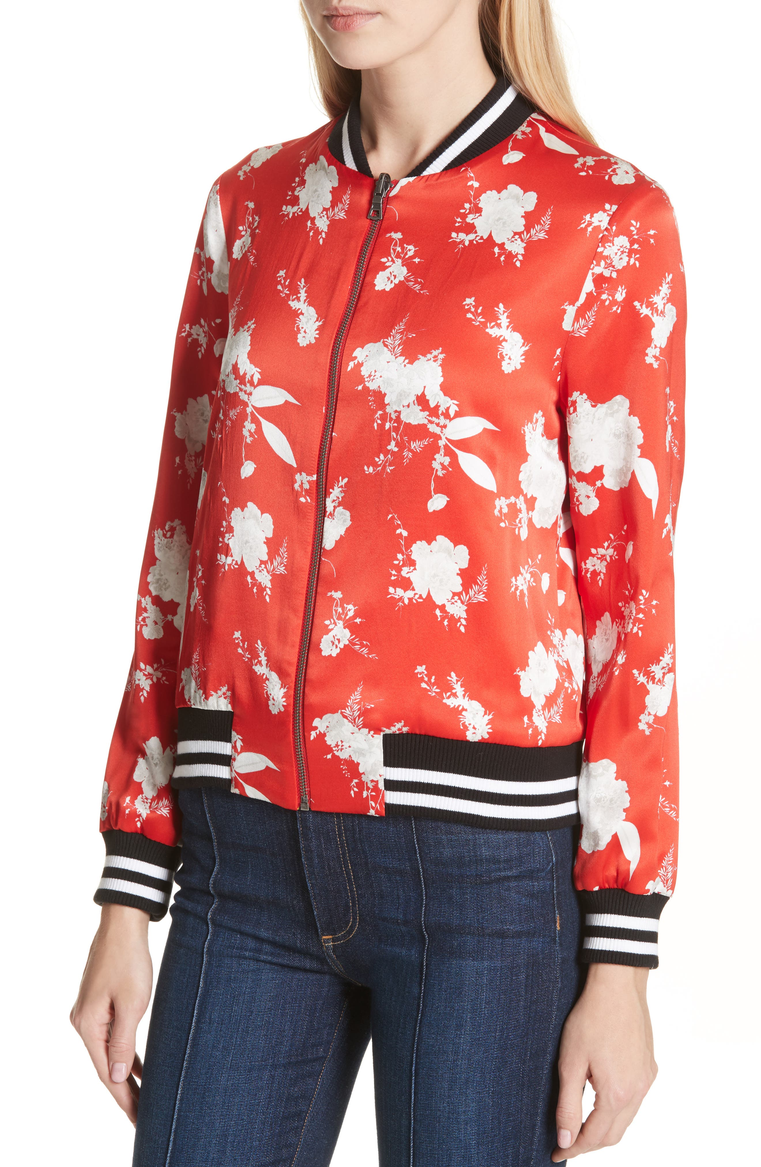 Lonnie Reversible Silk Bomber Jacket,                             Alternate thumbnail 4, color,                             605