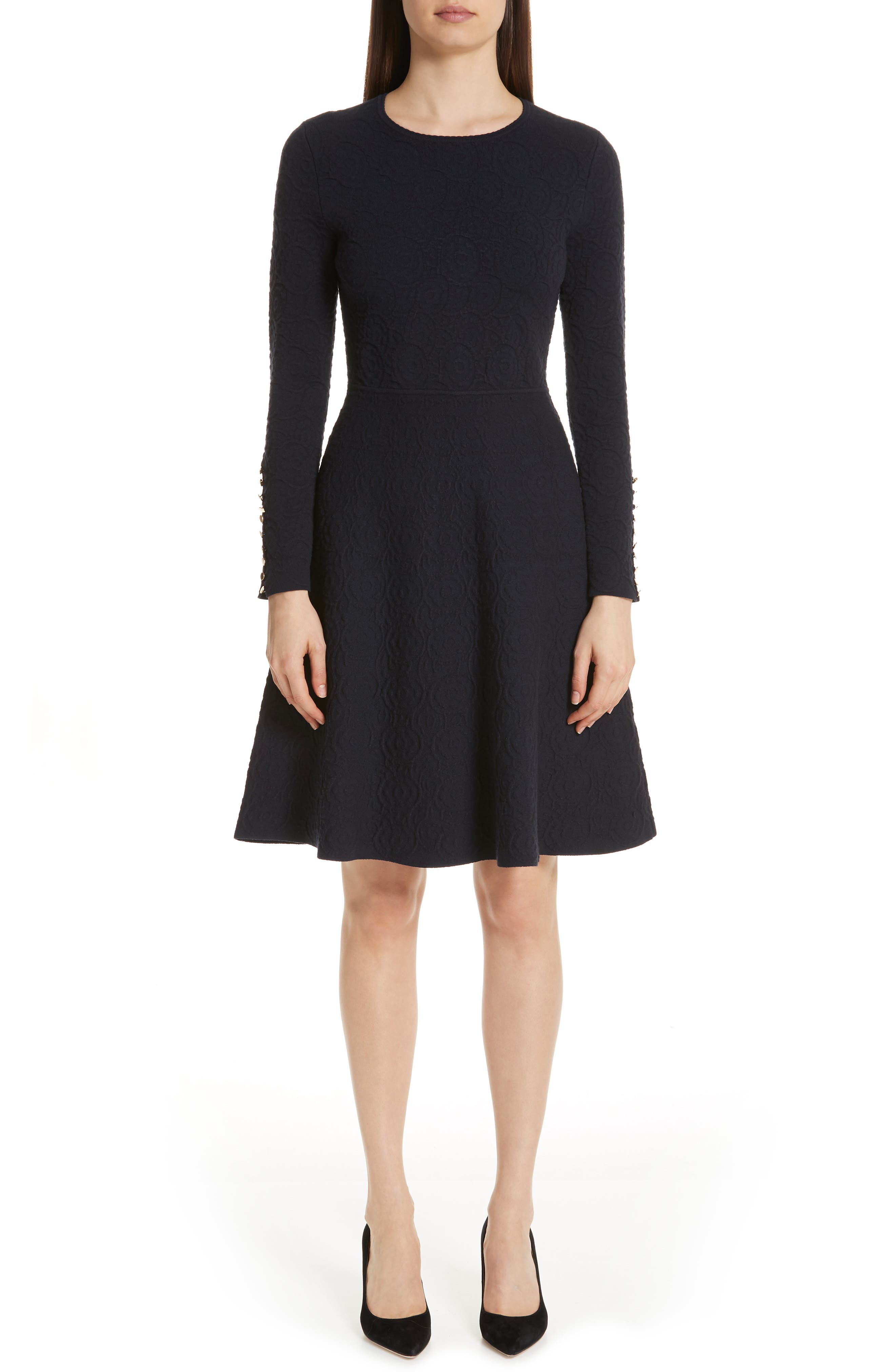 Textured Jacquard Knit Fit & Flare Dress,                             Main thumbnail 1, color,                             NAVY