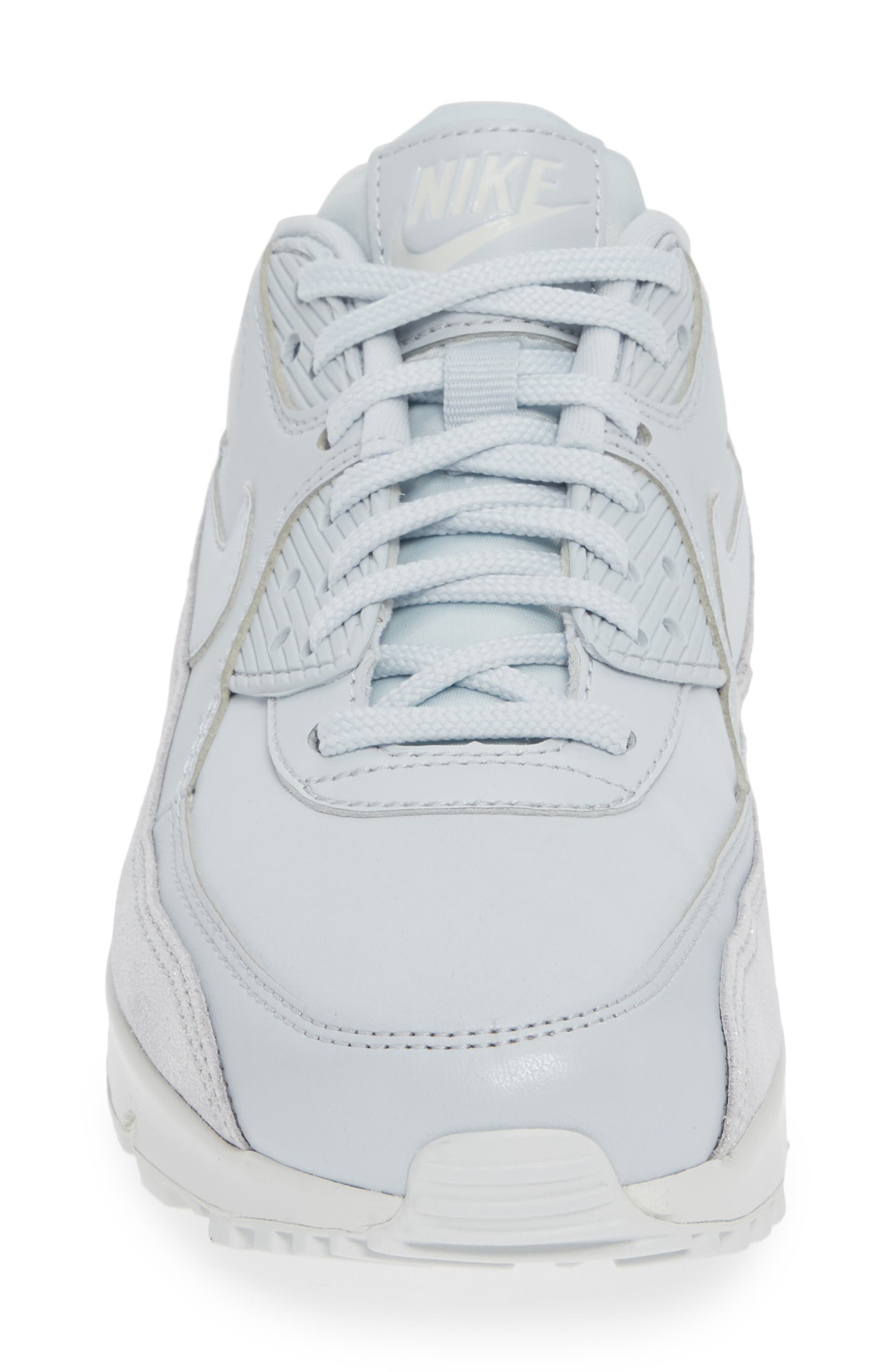 Air Max 90 SE Sneaker,                             Alternate thumbnail 4, color,                             PURE PLATINUM/ PLATINUM- WHITE