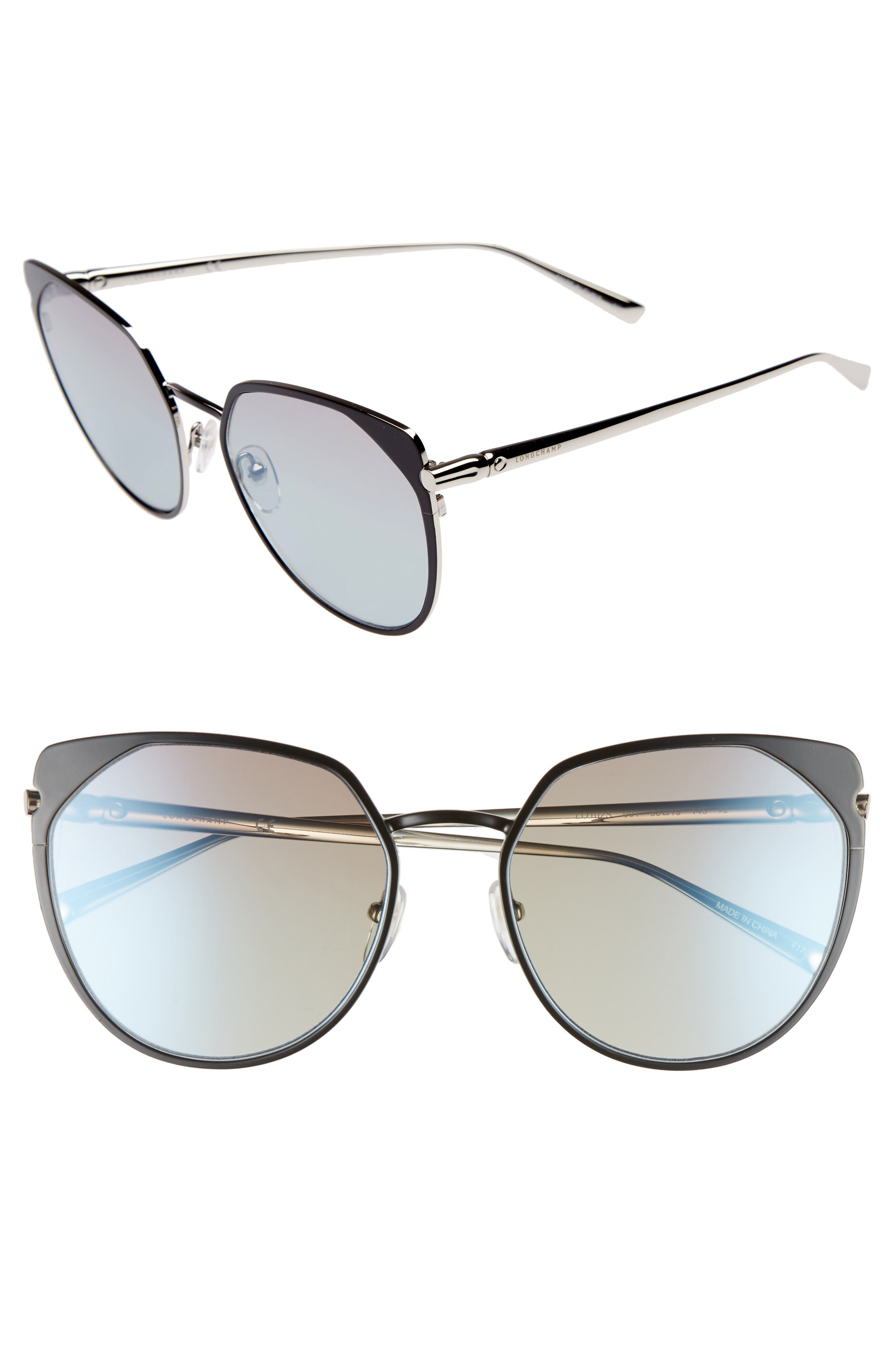 58mm Rounded Cat Eye Sunglasses,                         Main,                         color, 001