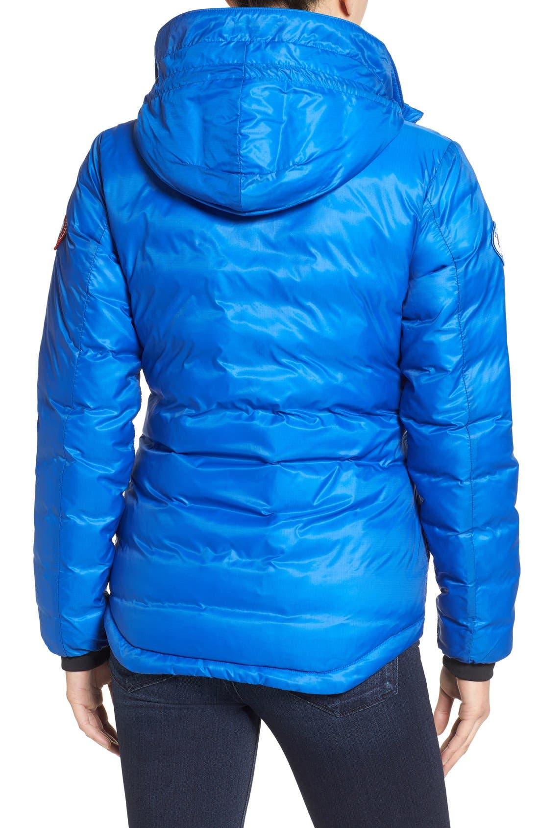 'PBI Camp' Packable Hooded Down Jacket,                             Alternate thumbnail 4, color,                             ROYAL PBI BLUE