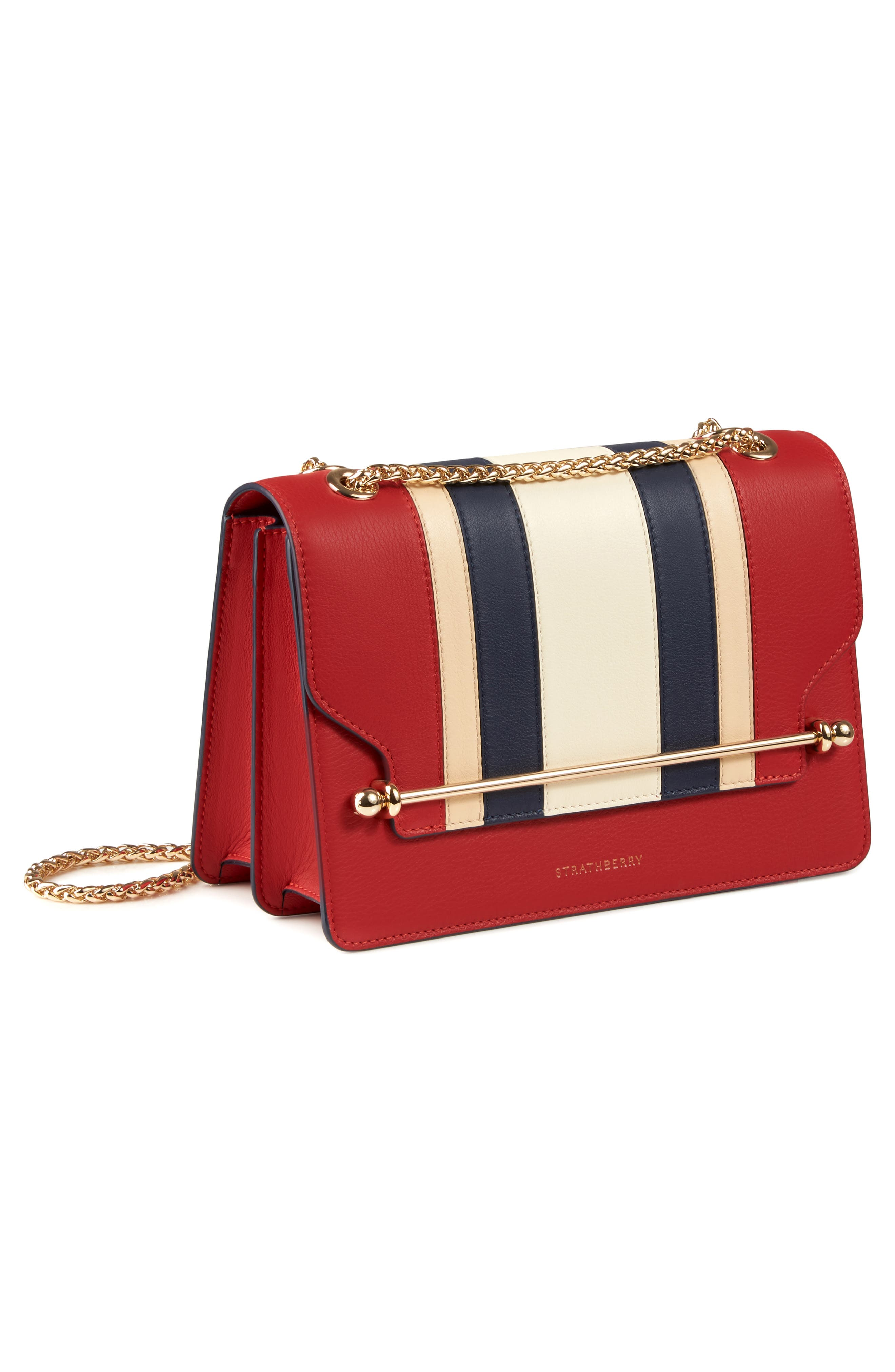 East/West Stripe Leather Crossbody Bag,                             Alternate thumbnail 4, color,                             600