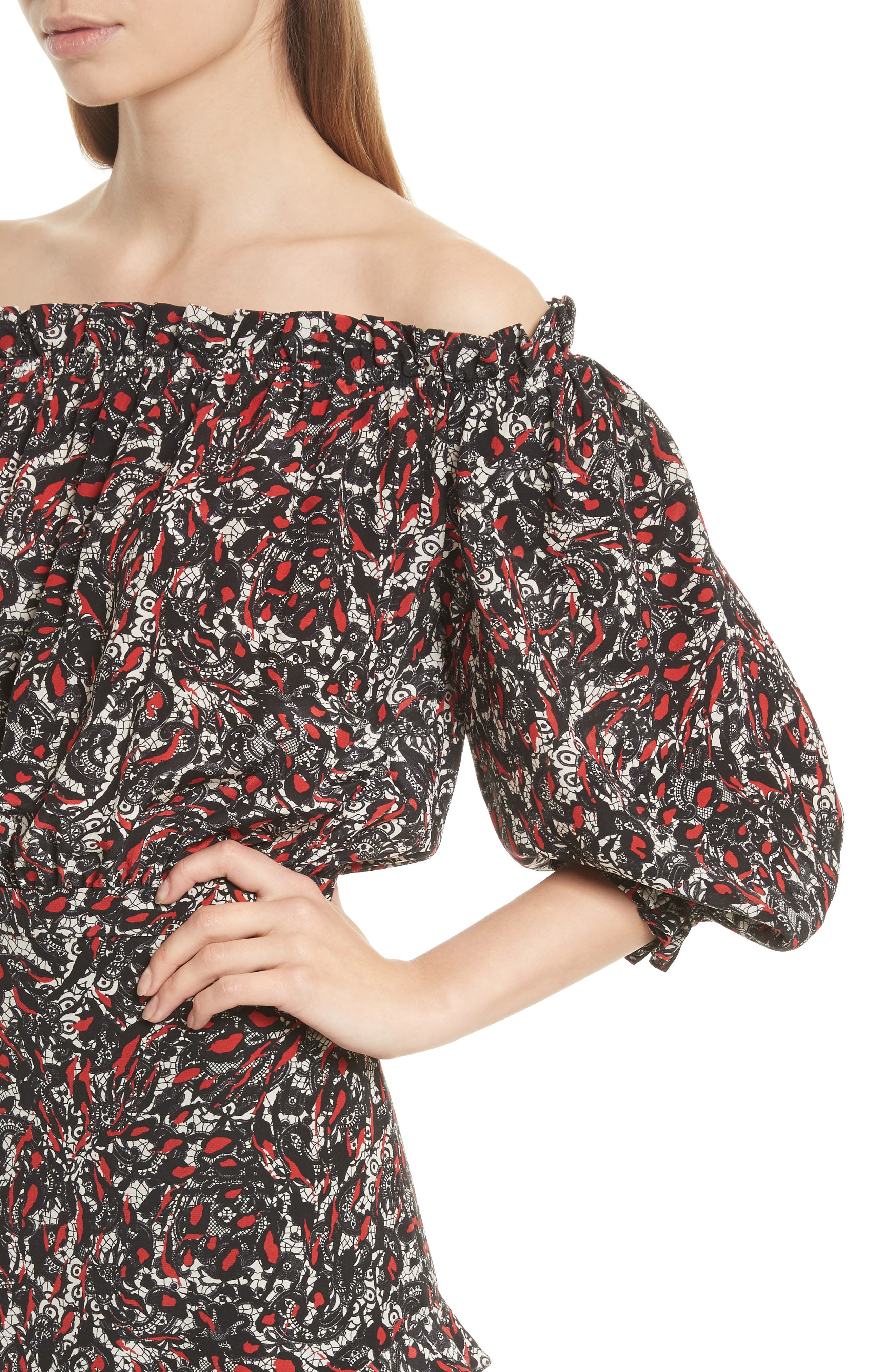 Grace Print Off the Shoulder Silk Dress,                             Alternate thumbnail 7, color,