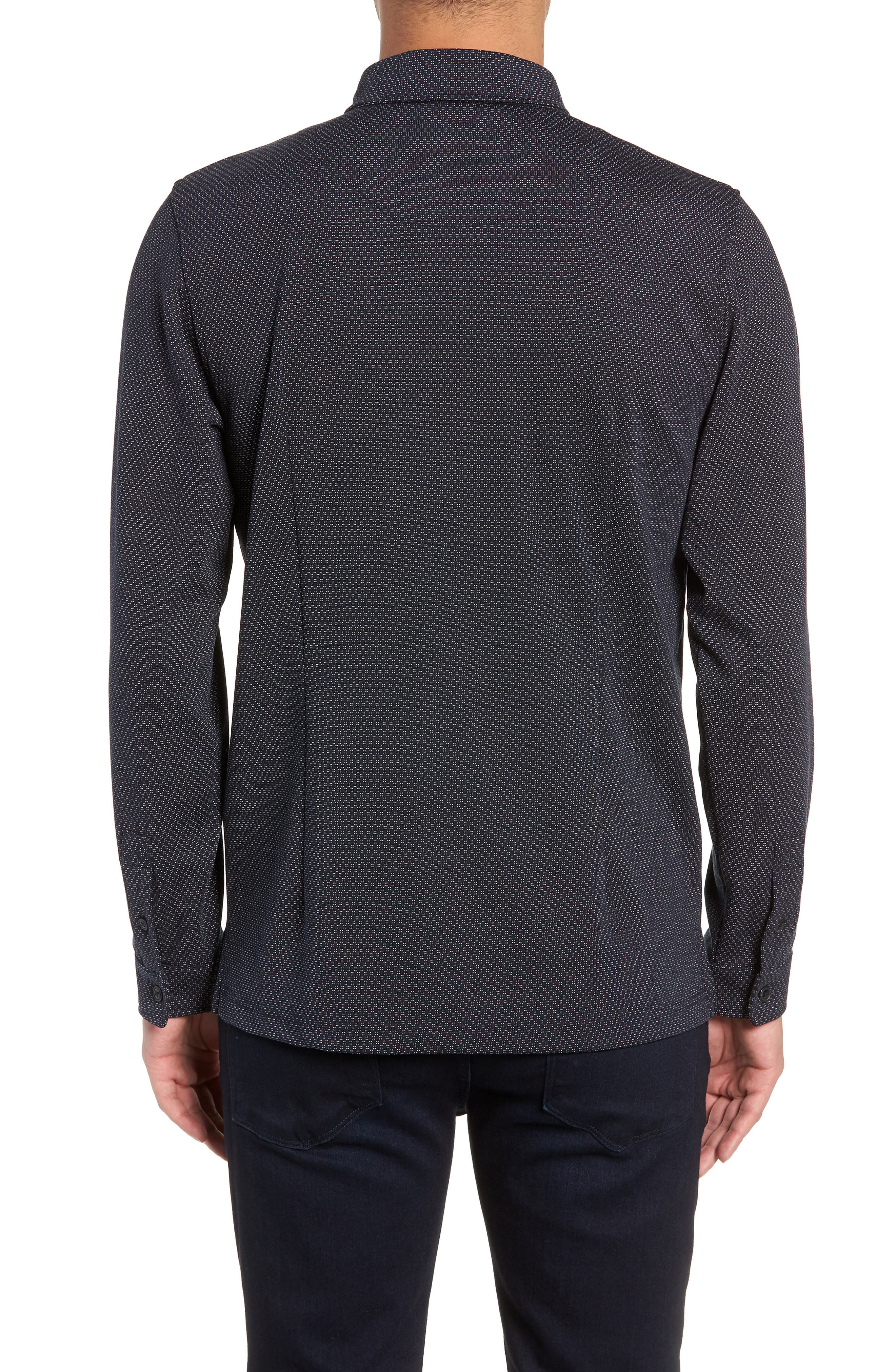 Trim Micro Foulard Polo Shirt,                             Alternate thumbnail 2, color,                             NAVY