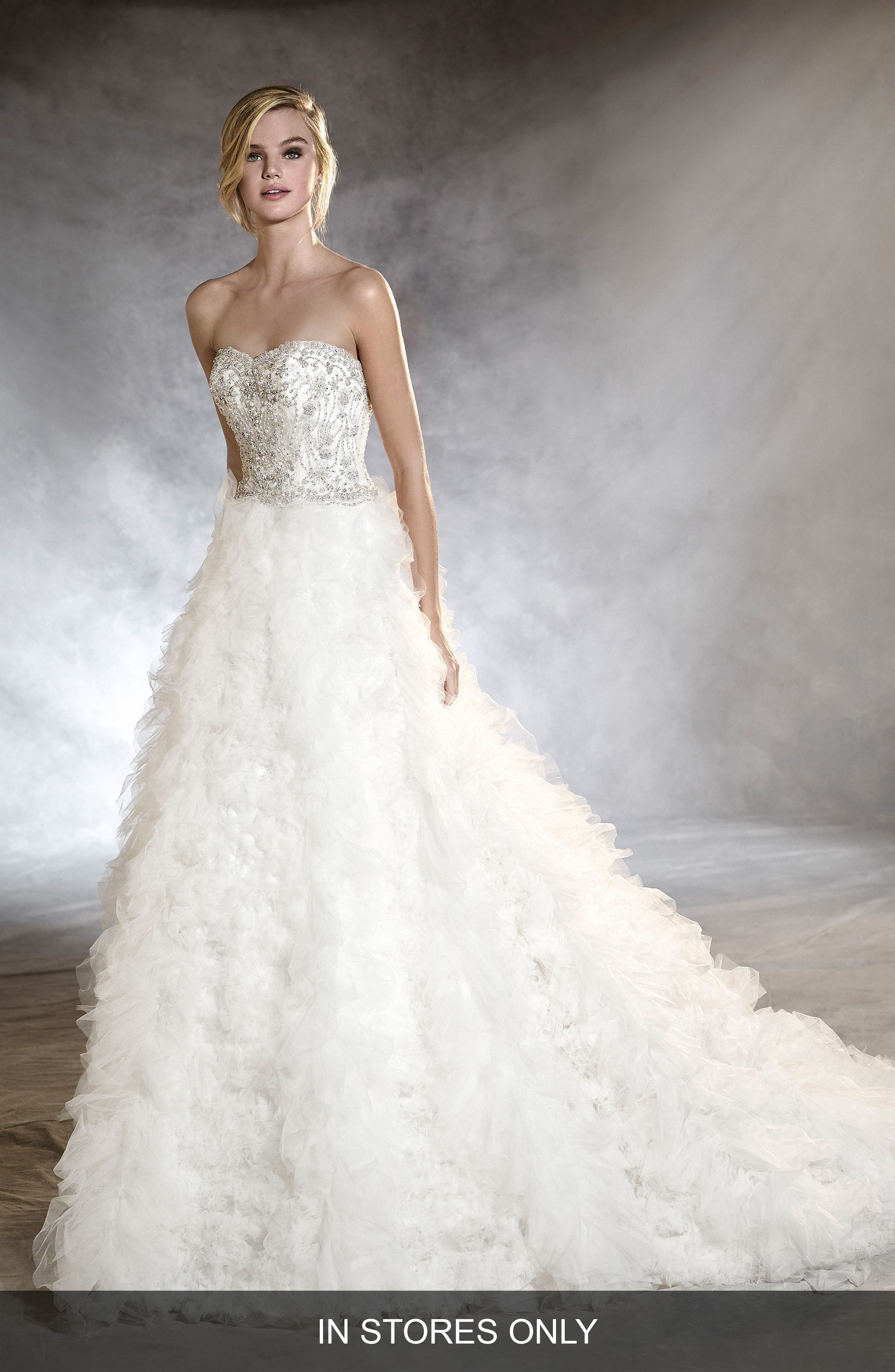 Onoria Strapless Tulle A-Line Gown,                         Main,                         color, 901