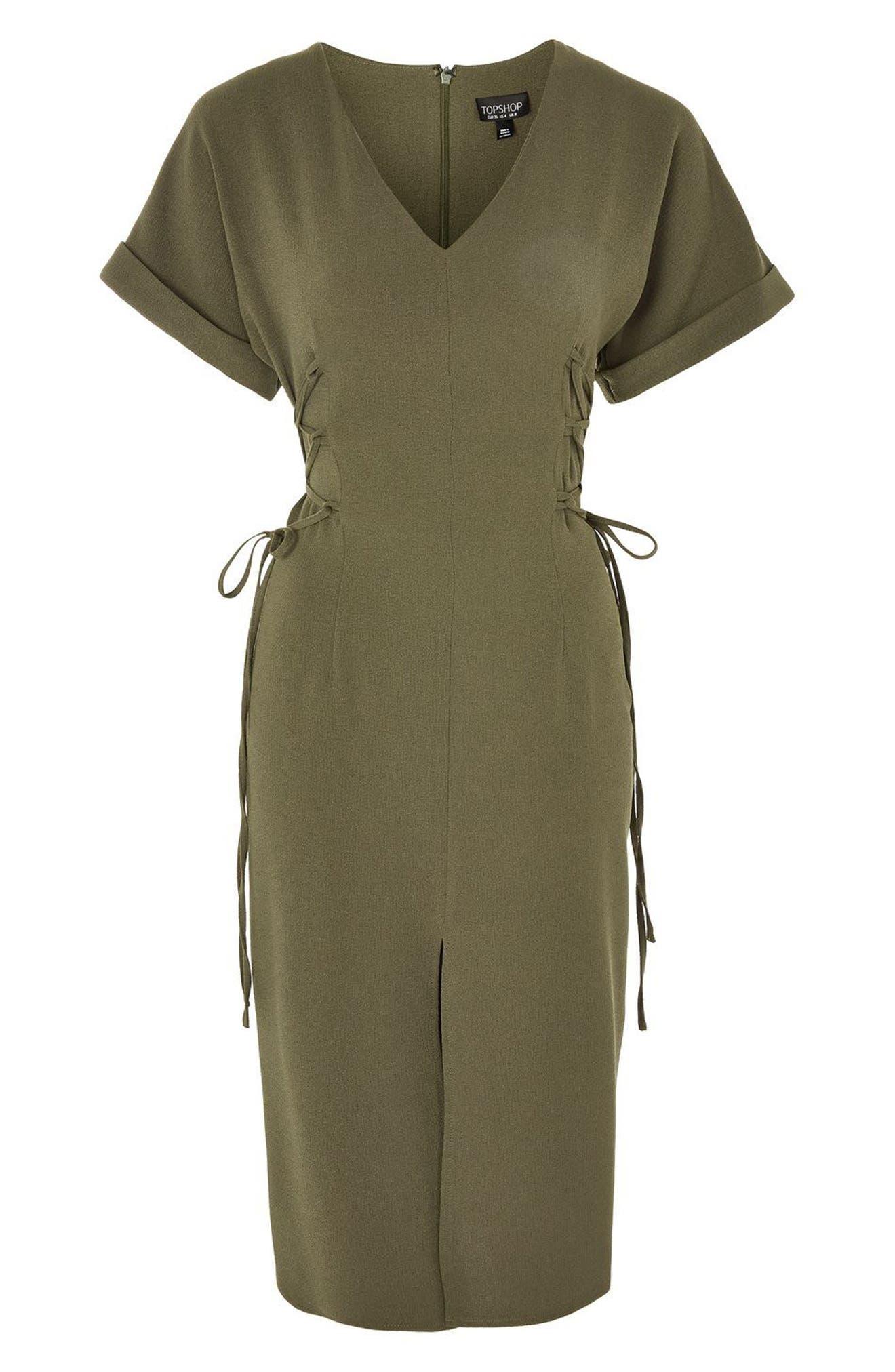 Corset Side Midi Dress,                             Alternate thumbnail 4, color,