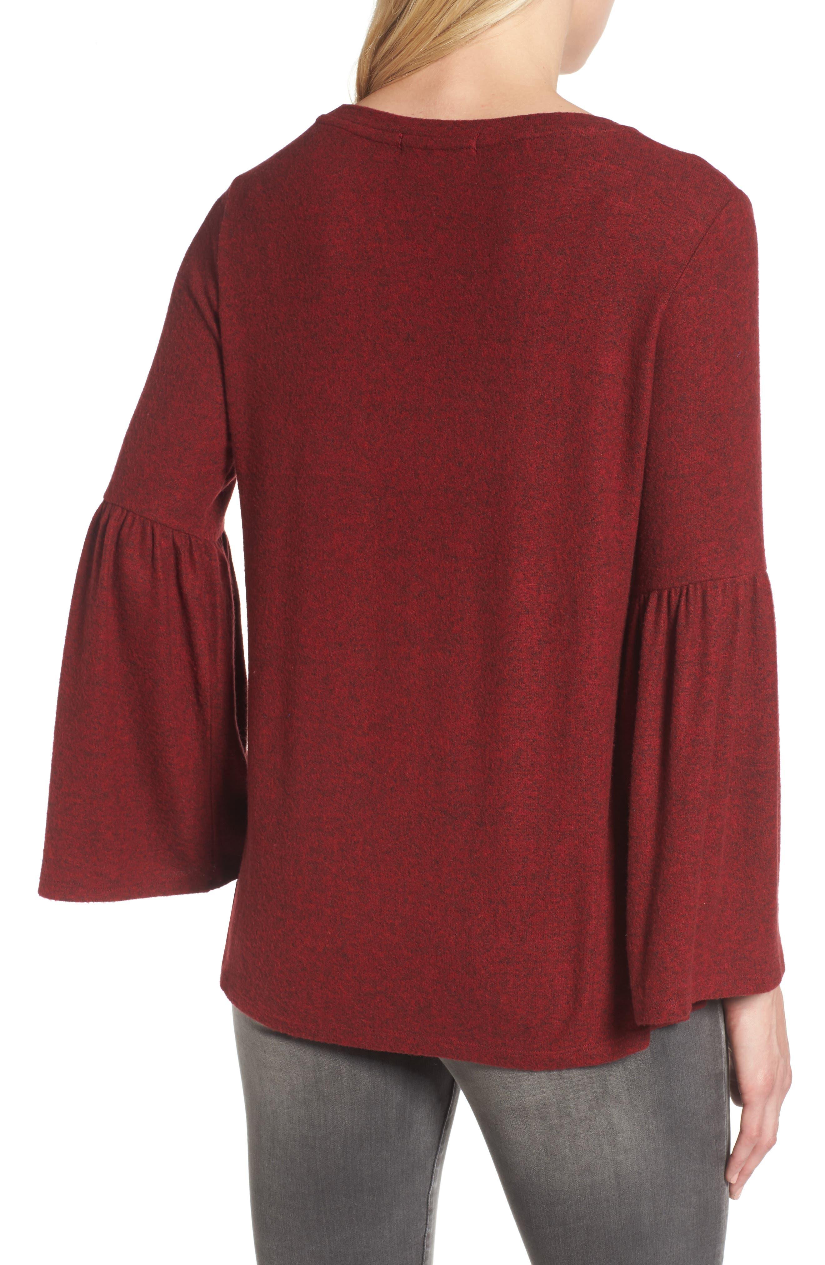 Bell Sleeve Cozy Fleece Pullover,                             Alternate thumbnail 17, color,
