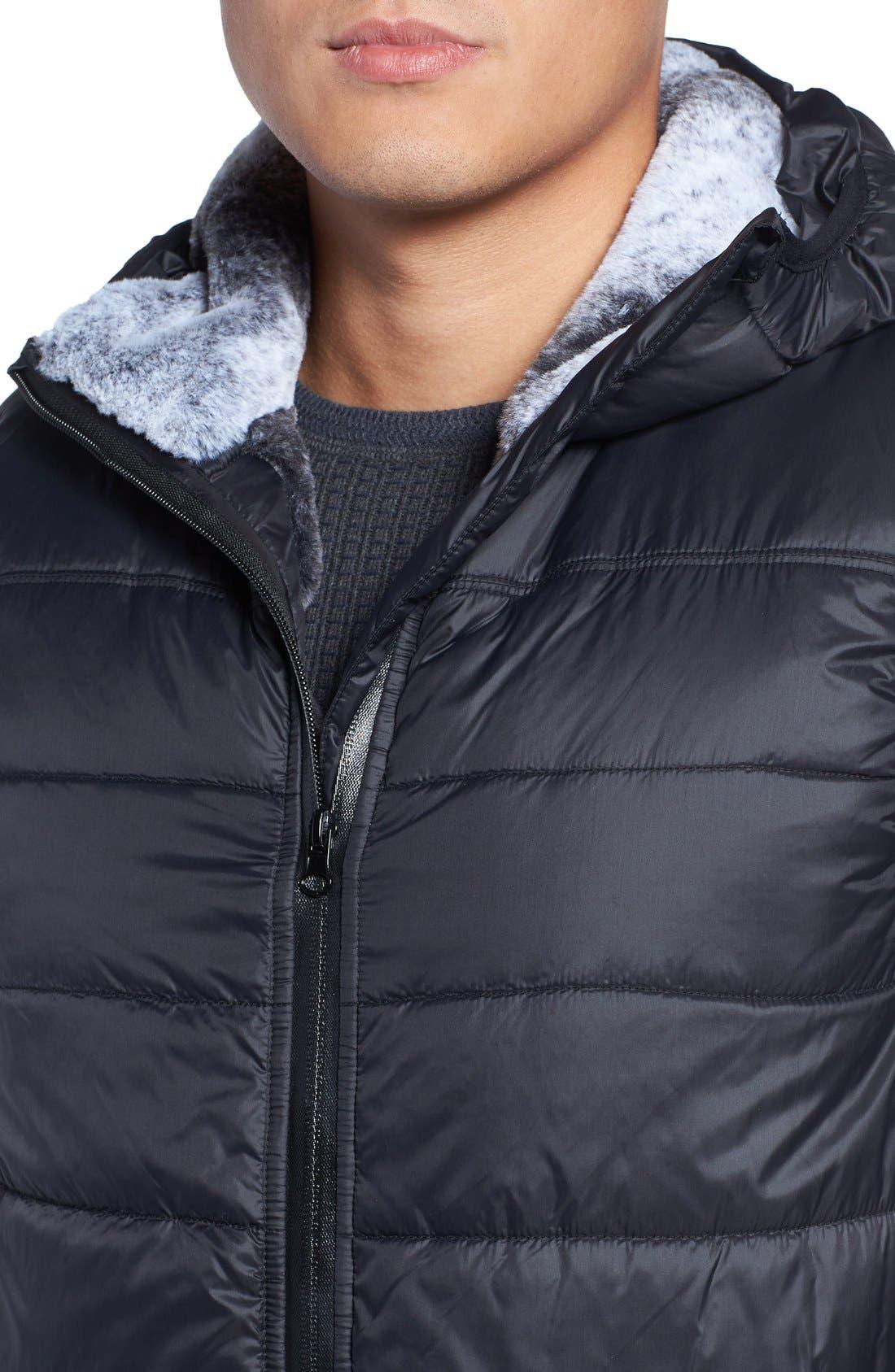 Hooded Faux Fur Lined Vest,                             Alternate thumbnail 4, color,                             013