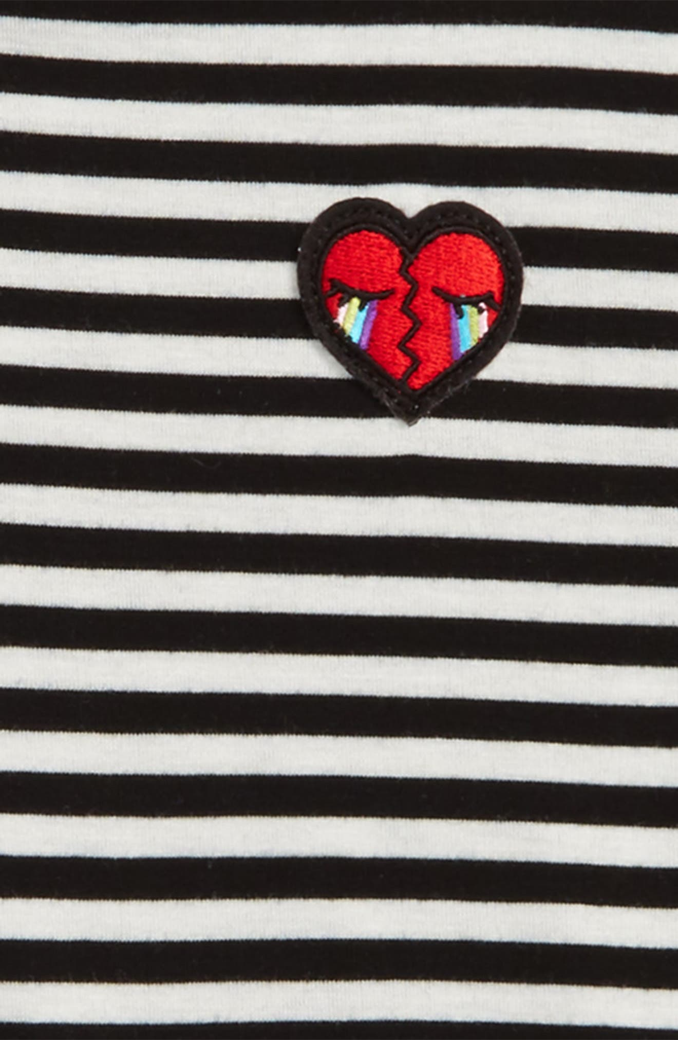 Heart Patch Stripe Tee,                             Alternate thumbnail 2, color,                             001