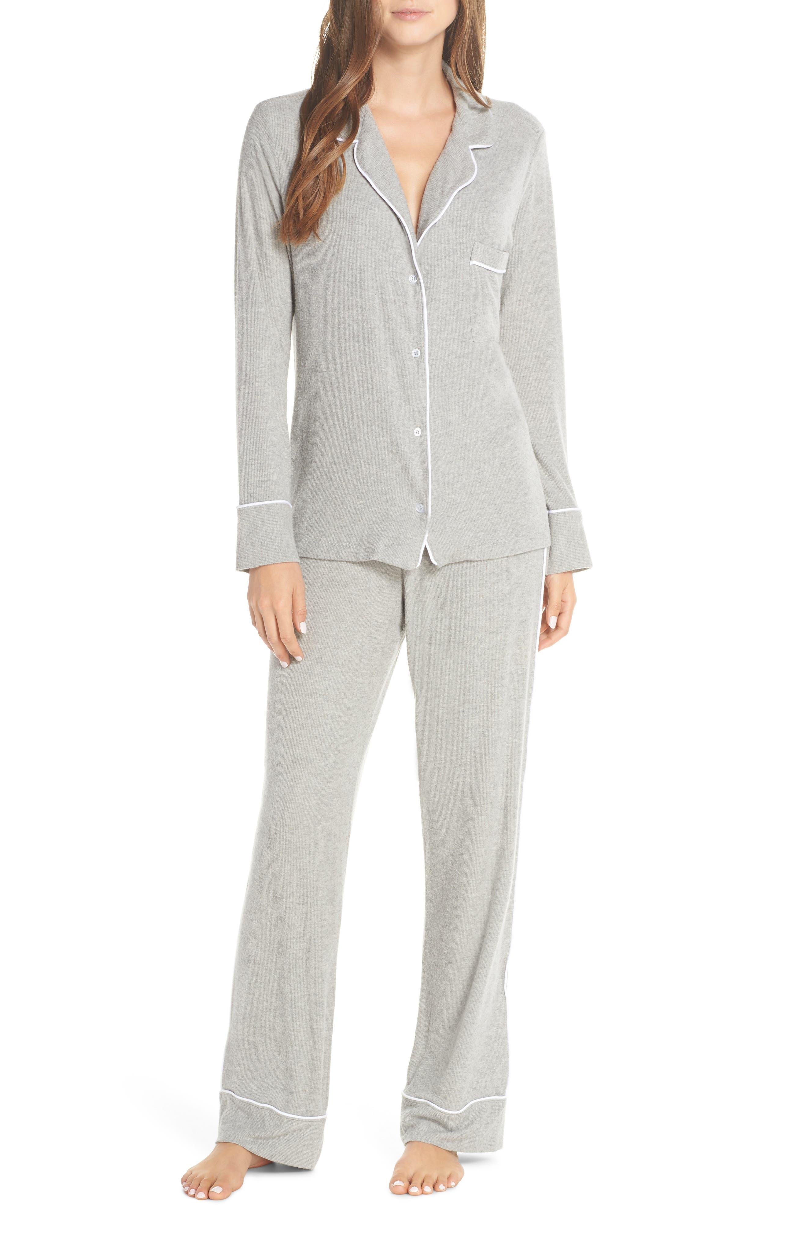MAISON DU SOIR Monaco Long-Sleeve Pajamas in Heather Grey Rib