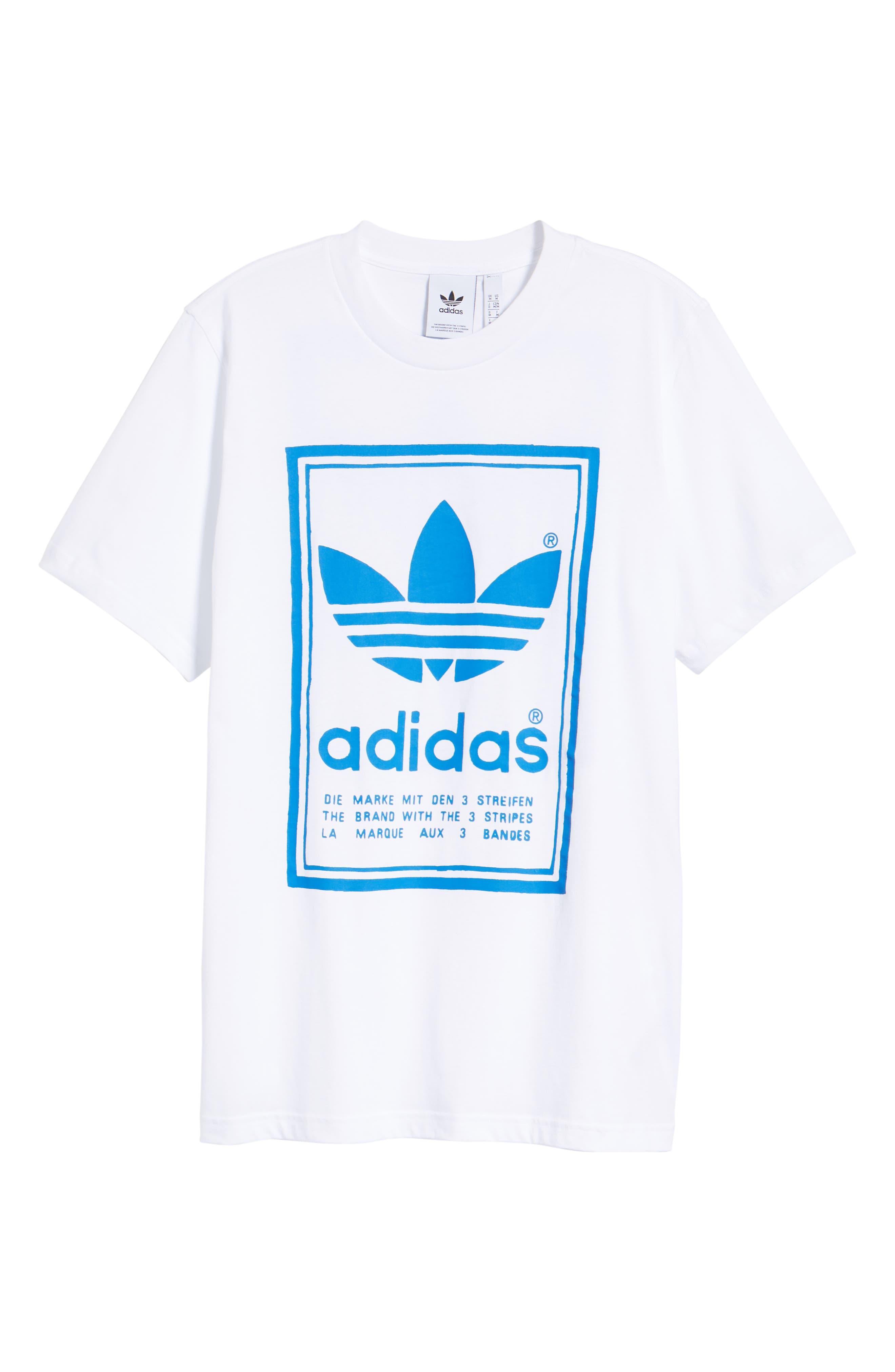 adidas Vintage Logo Graphic T-Shirt,                             Alternate thumbnail 6, color,                             100