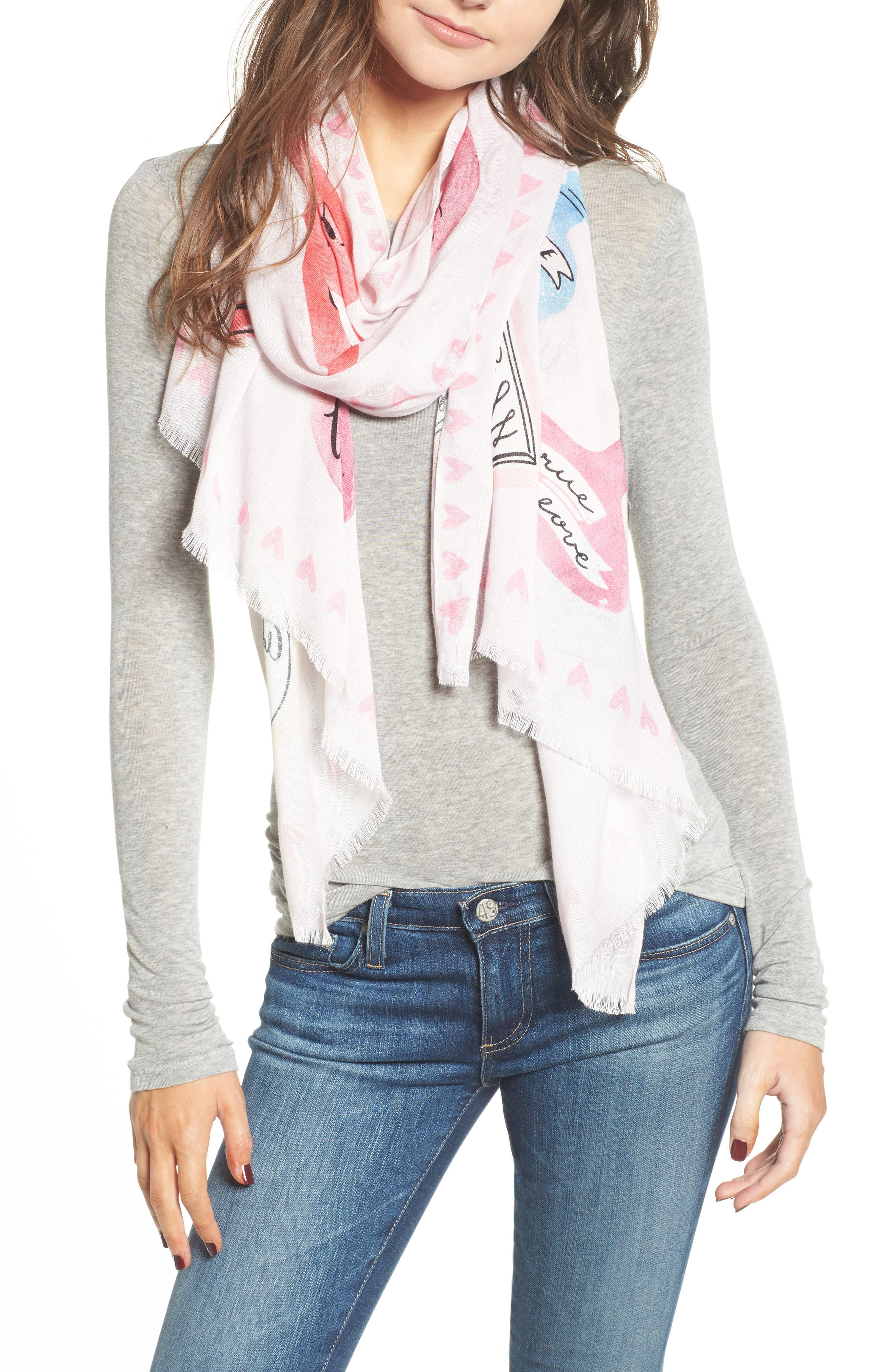 love potions scarf,                             Main thumbnail 1, color,                             VALENTINE PINK