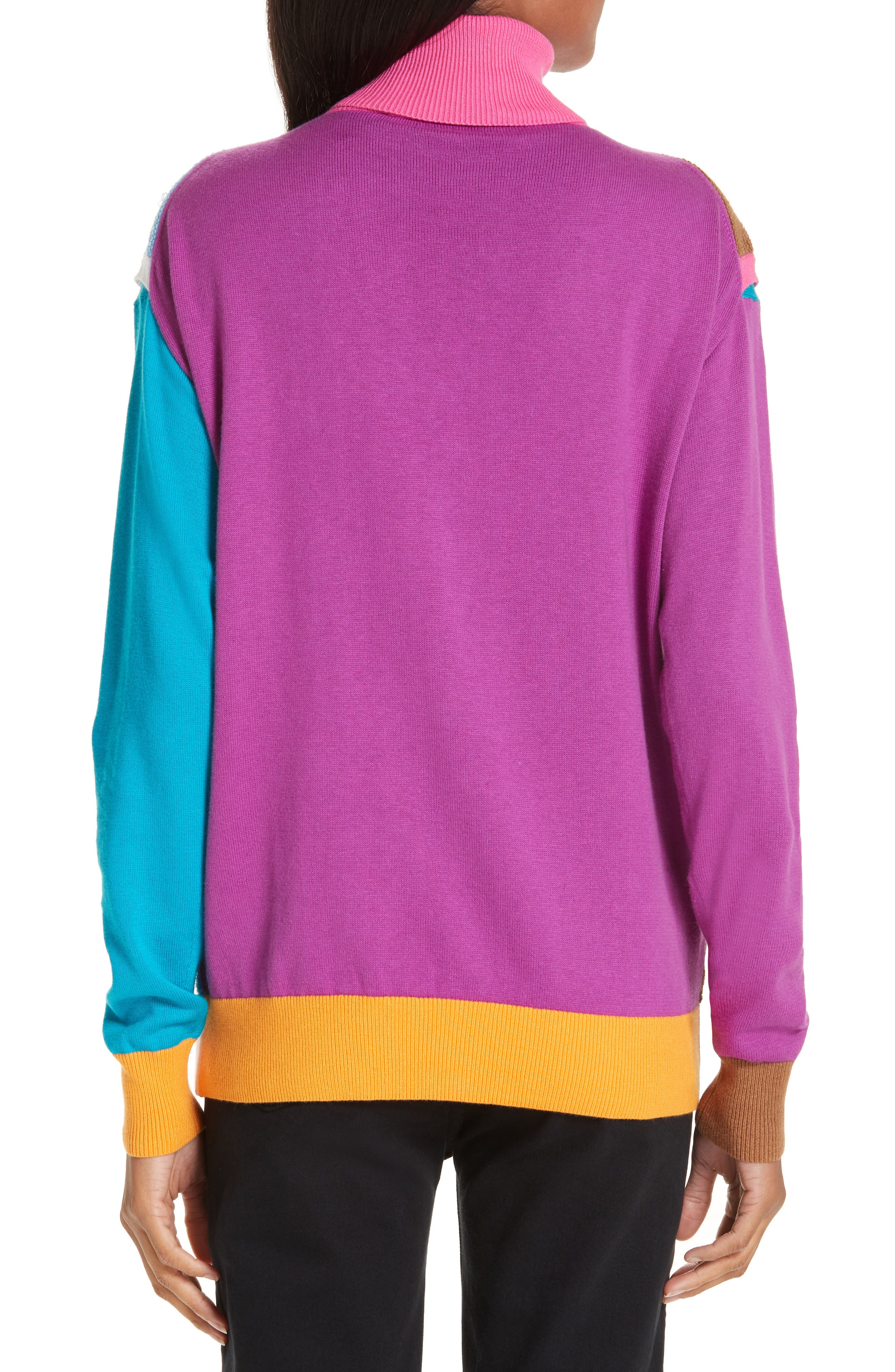 Layered Cotton & Cashmere Sweater,                             Alternate thumbnail 2, color,                             PINK/BLUE/SAND COMBO
