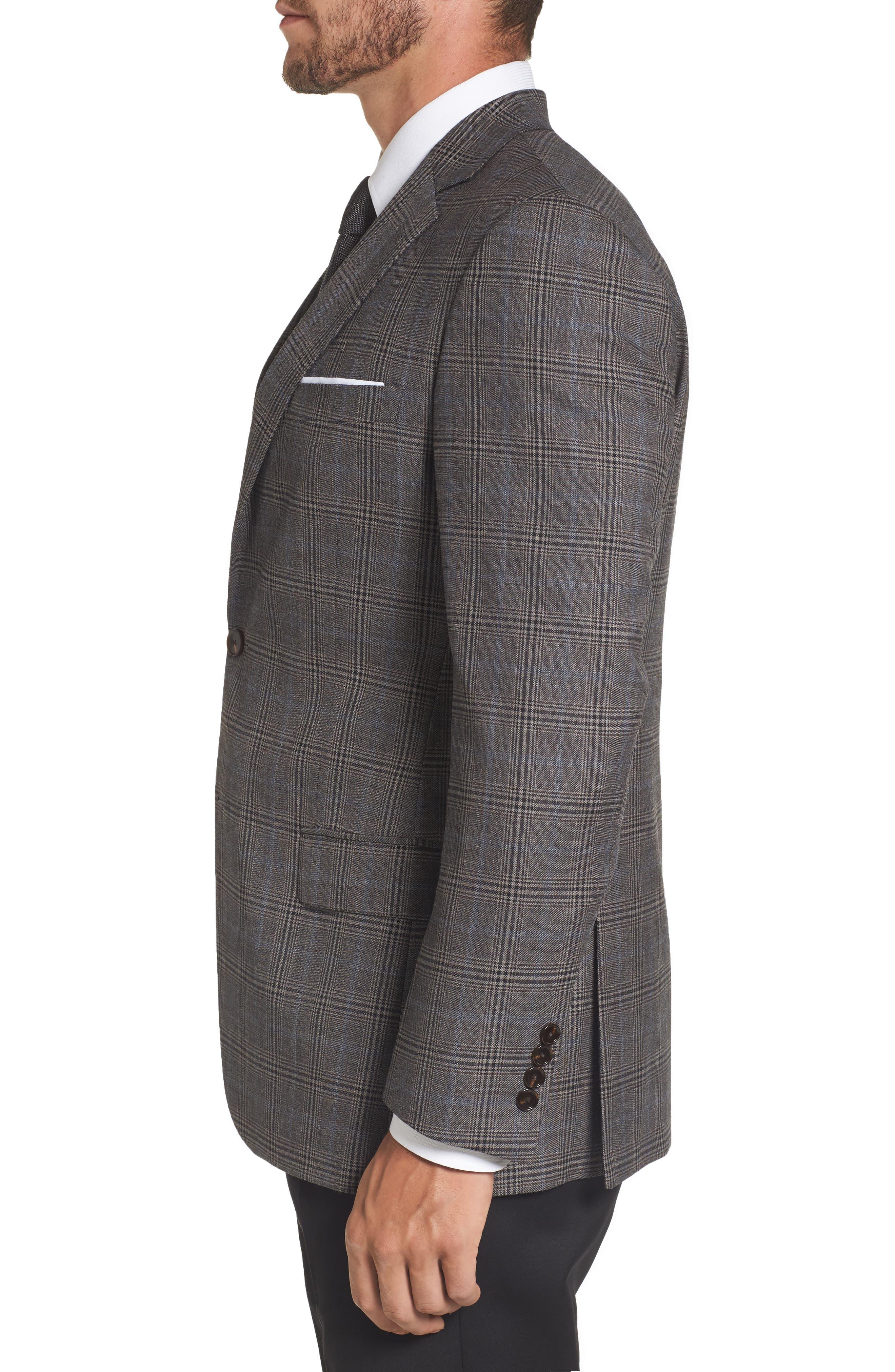 Classic Fit Plaid Stretch Wool Sport Coat,                             Alternate thumbnail 3, color,                             030