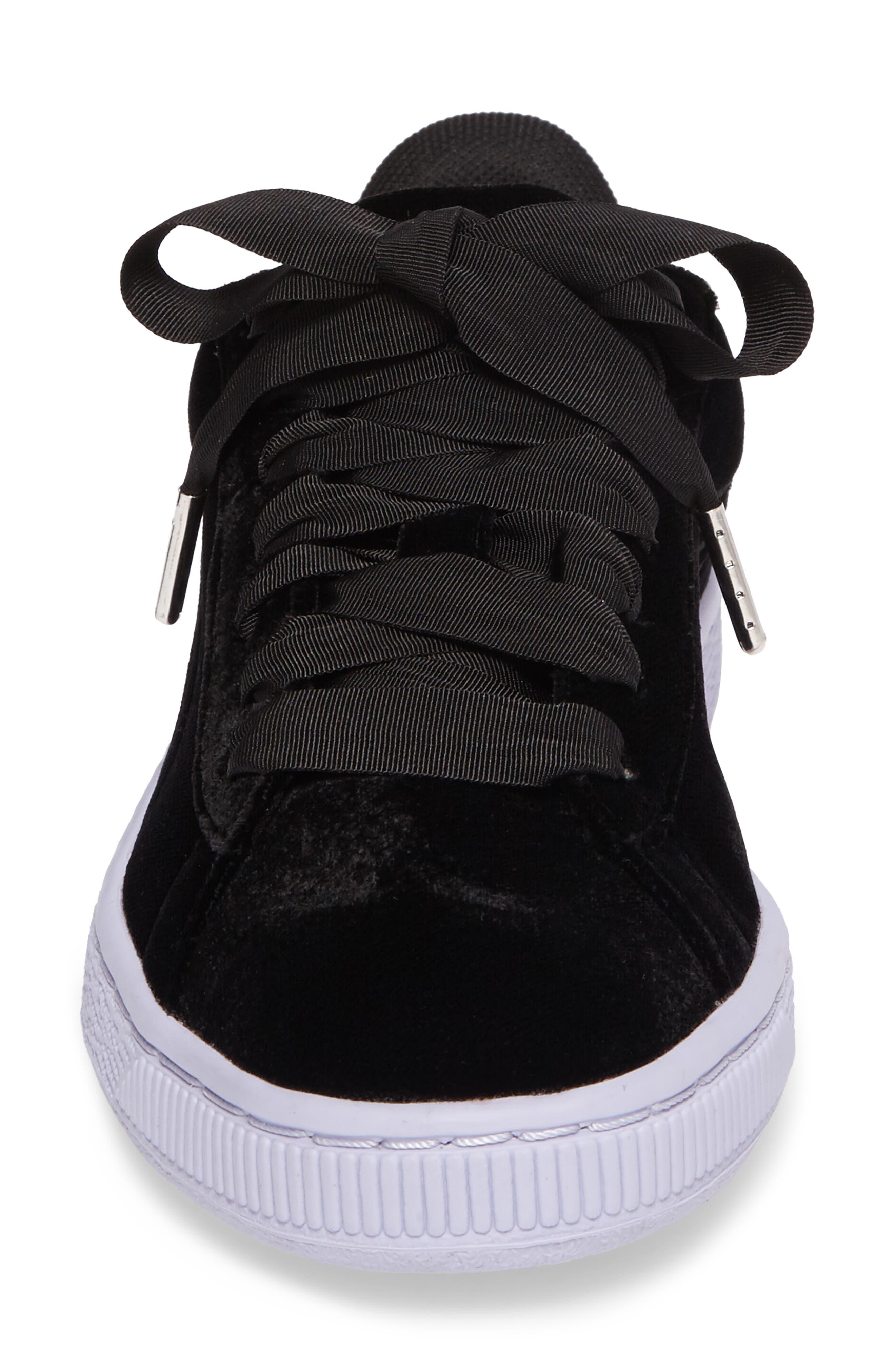 Basket Classic Velour Sneaker,                             Alternate thumbnail 4, color,                             001