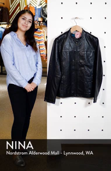 Ginga Trim Fit Leather Jacket, sales video thumbnail