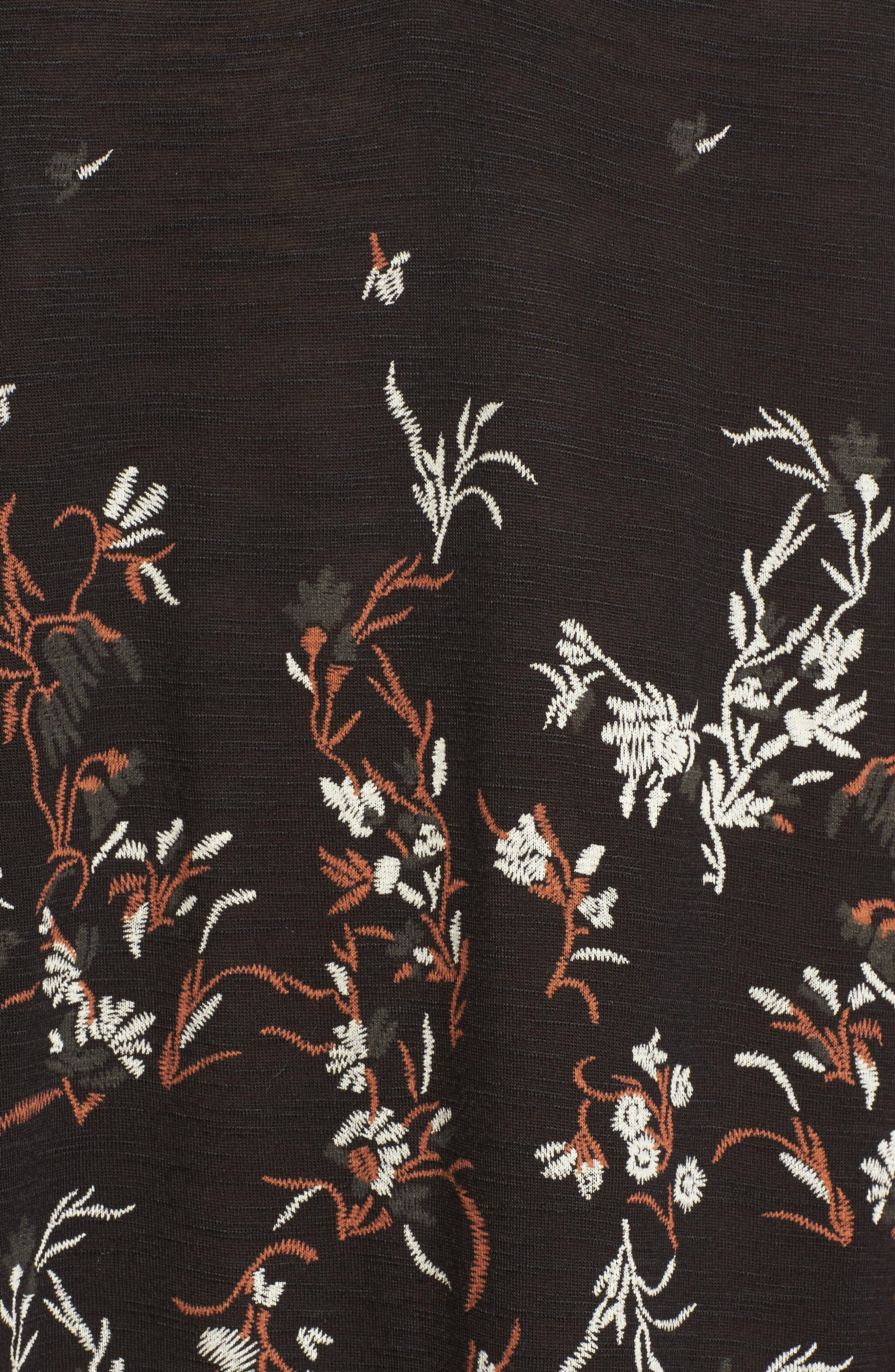 Mock Neck Floral Top,                             Alternate thumbnail 5, color,                             010