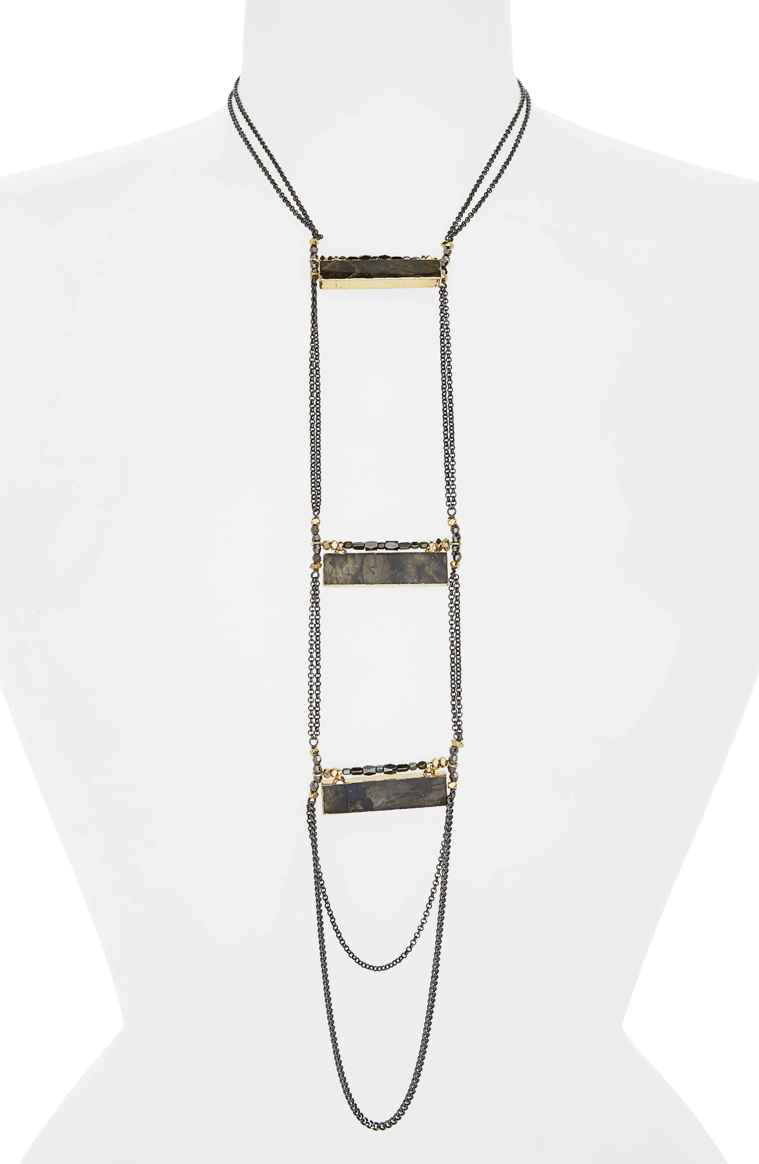 Labradorite Rectangle Necklace,                         Main,                         color,