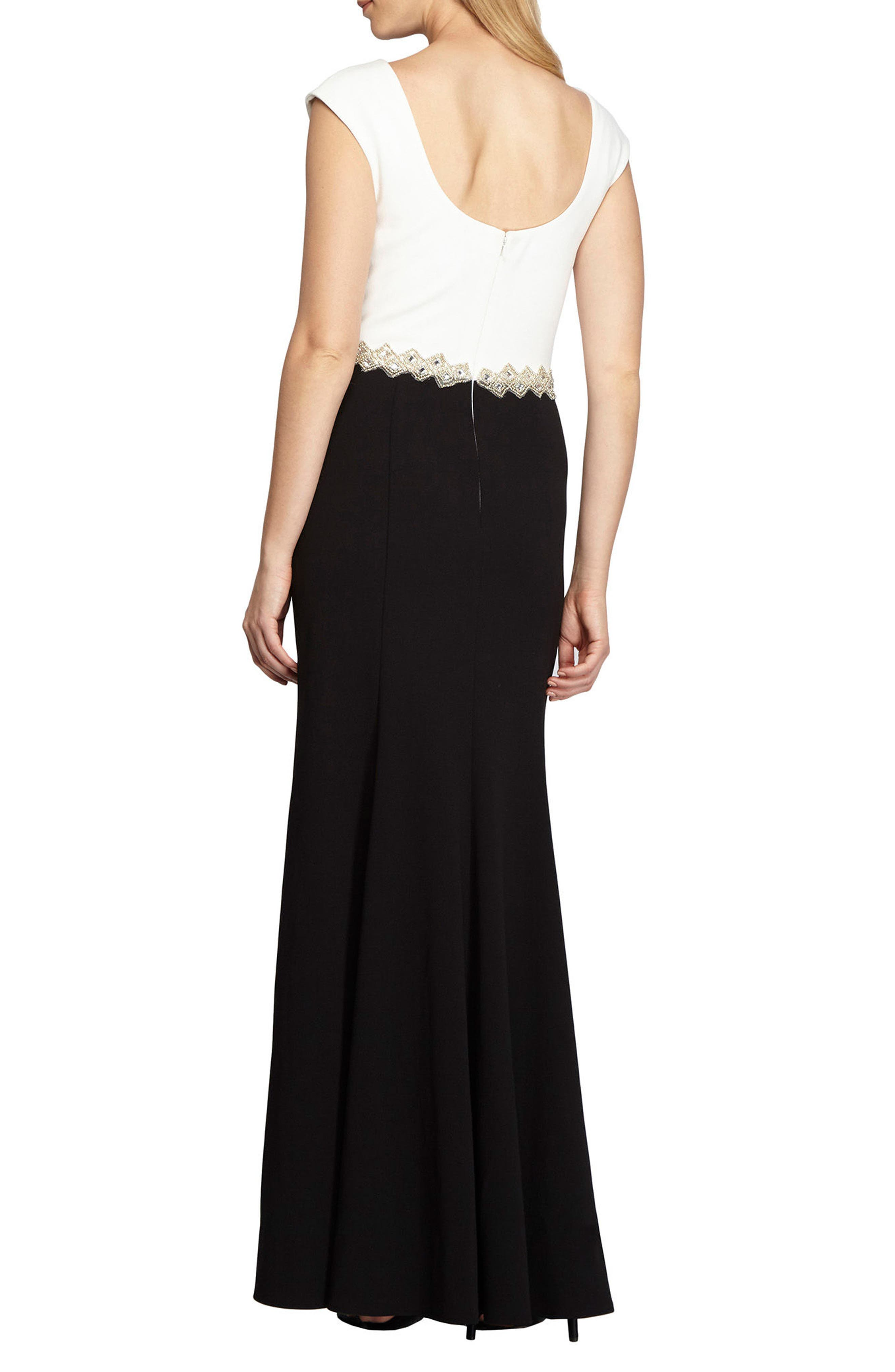 Embellished Colorblock Gown,                             Alternate thumbnail 2, color,                             004