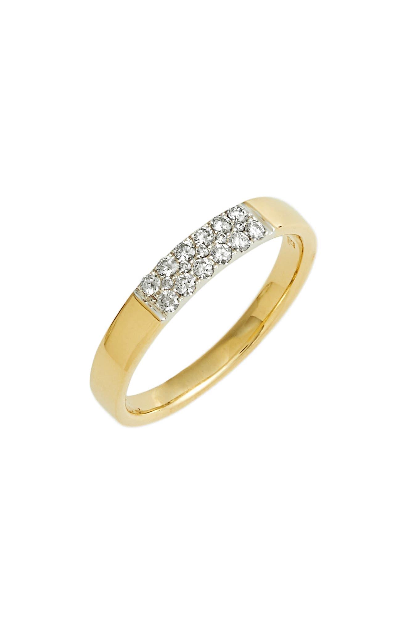 Kiera Diamond Stacking Ring,                             Main thumbnail 1, color,                             YELLOW GOLD/ WHITE GOLD
