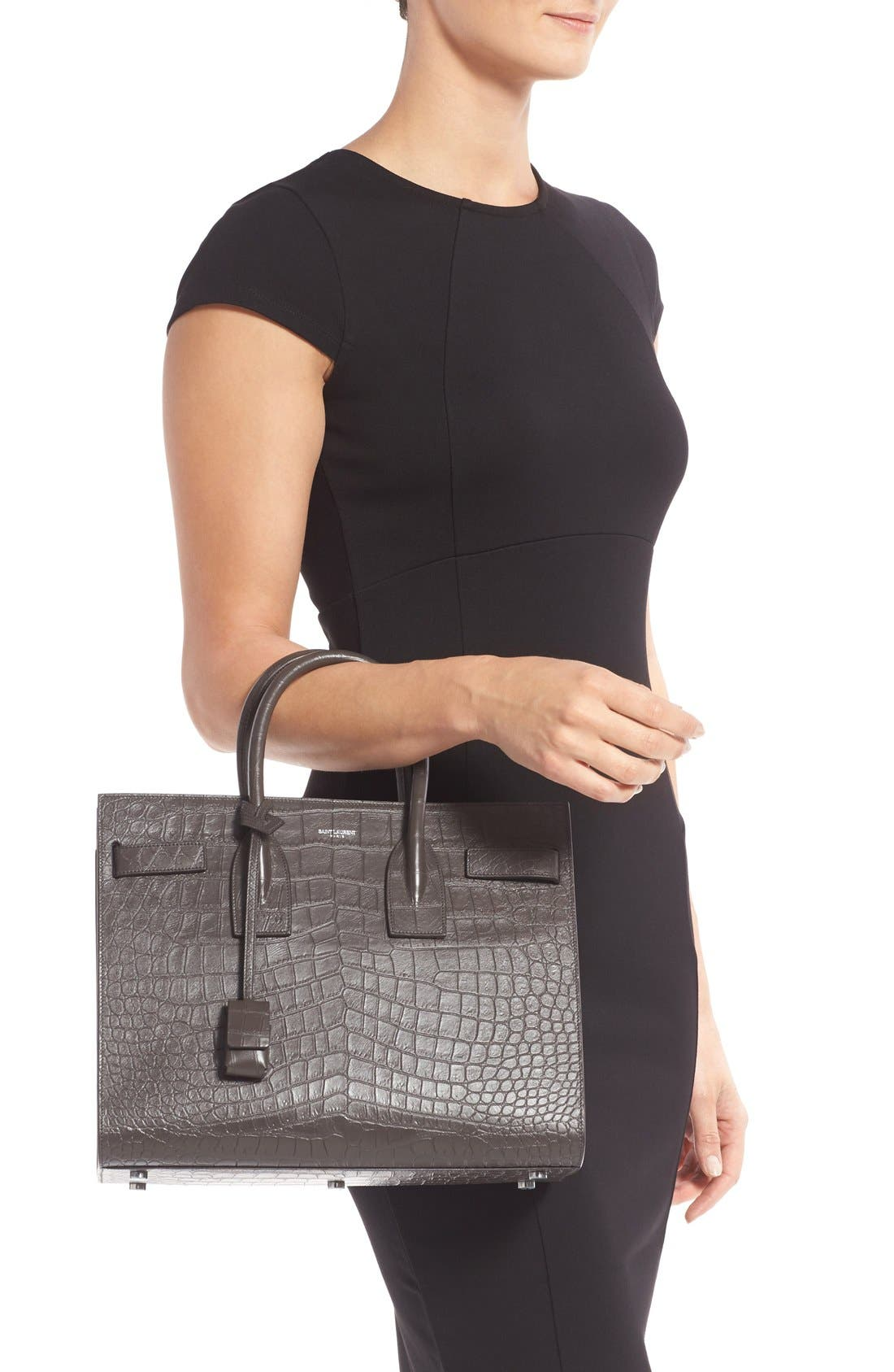 'Small Sac de Jour' Croc Embossed Leather Tote,                             Alternate thumbnail 2, color,                             022