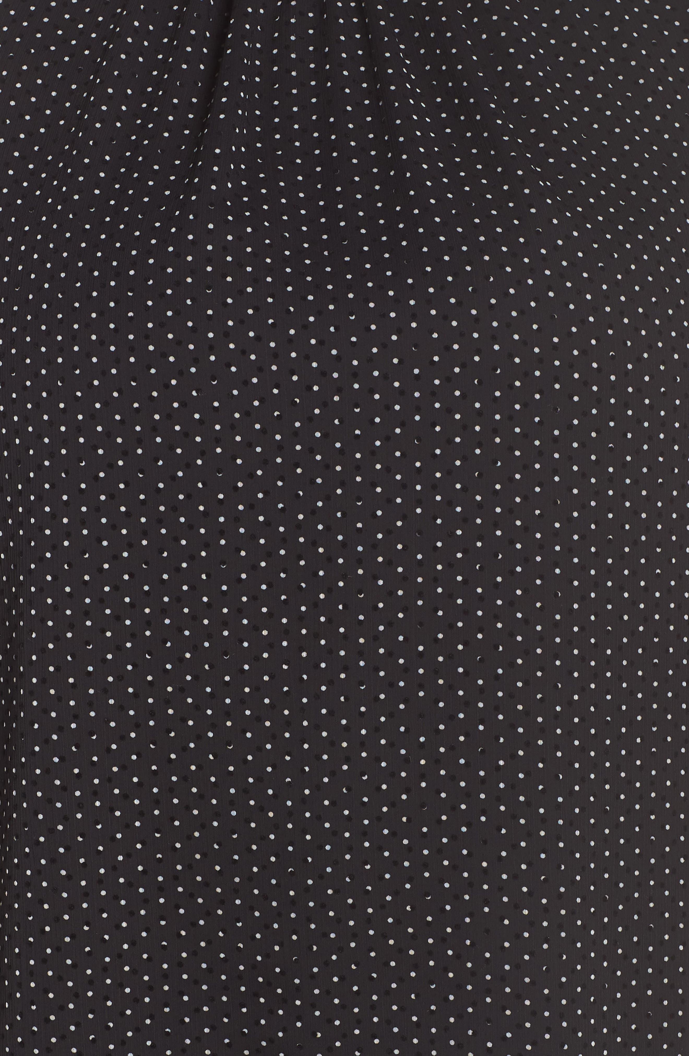 VINCE CAMUTO,                             Flutter Sleeve Polka Dot Blouse,                             Alternate thumbnail 5, color,                             RICH BLACK