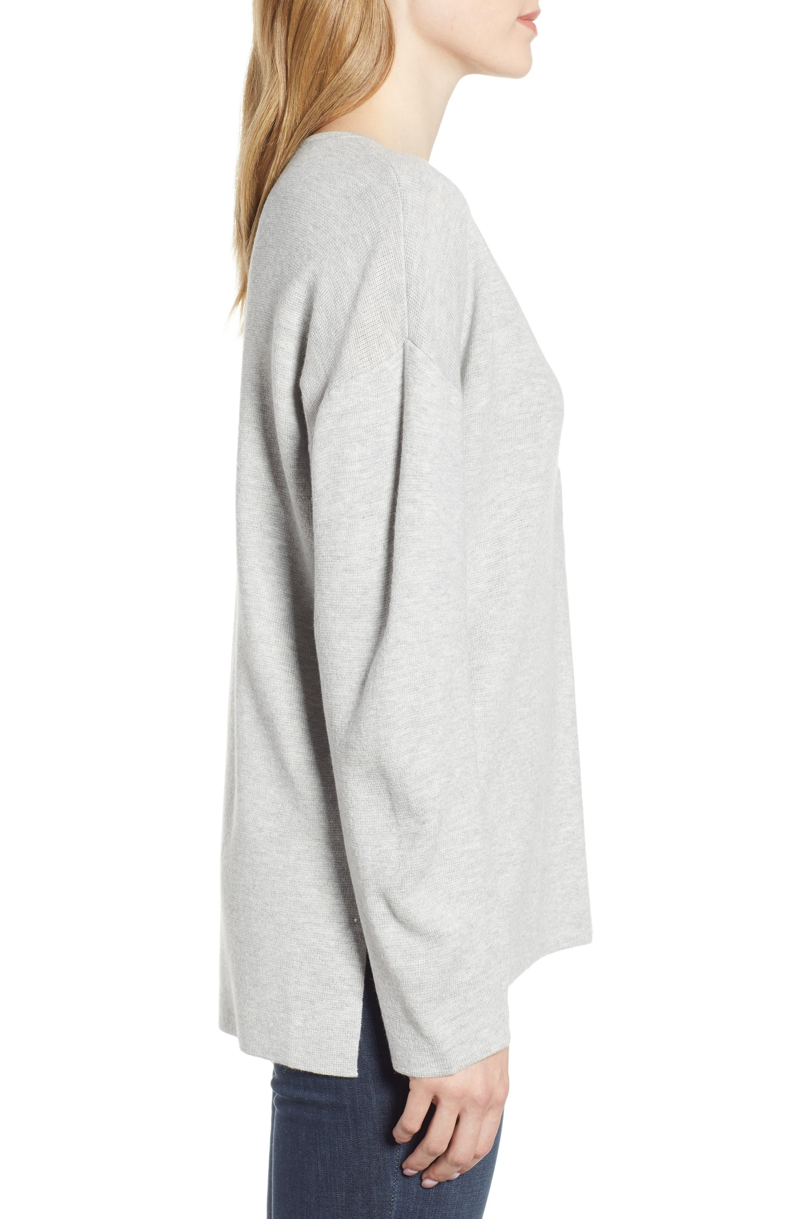 Split Neck Sweater,                             Alternate thumbnail 3, color,                             MED GREY