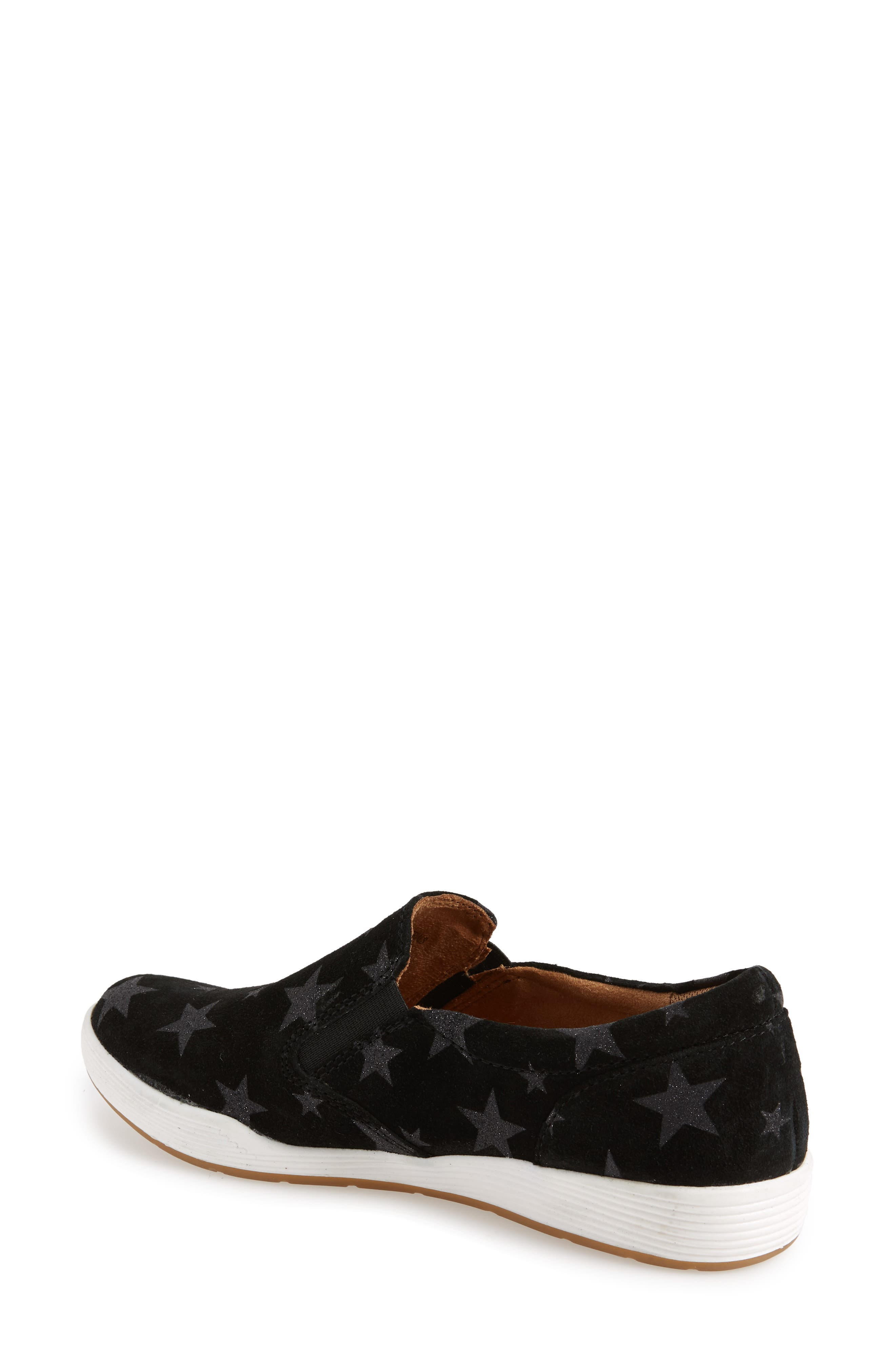 Linette Suede Slip-On Sneaker,                             Alternate thumbnail 2, color,                             BLACK SUEDE