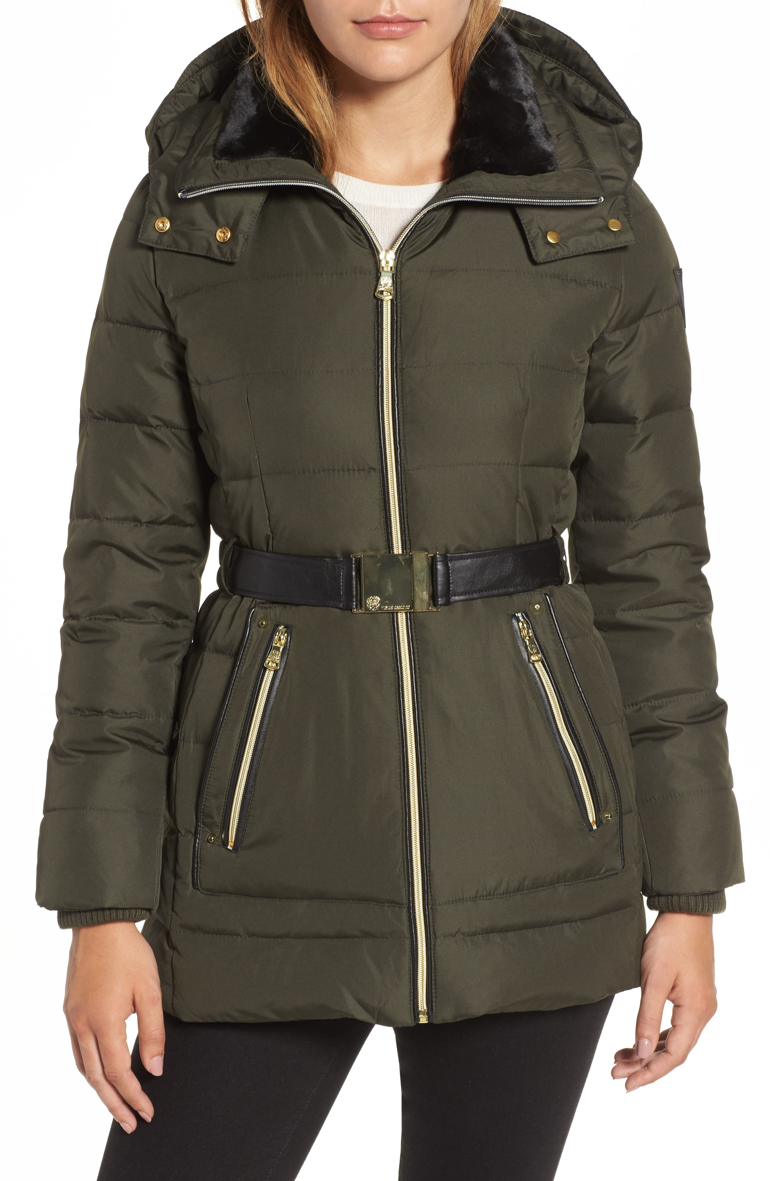 Belted Down & Feather Jacket with Faux Fur,                             Main thumbnail 2, color,
