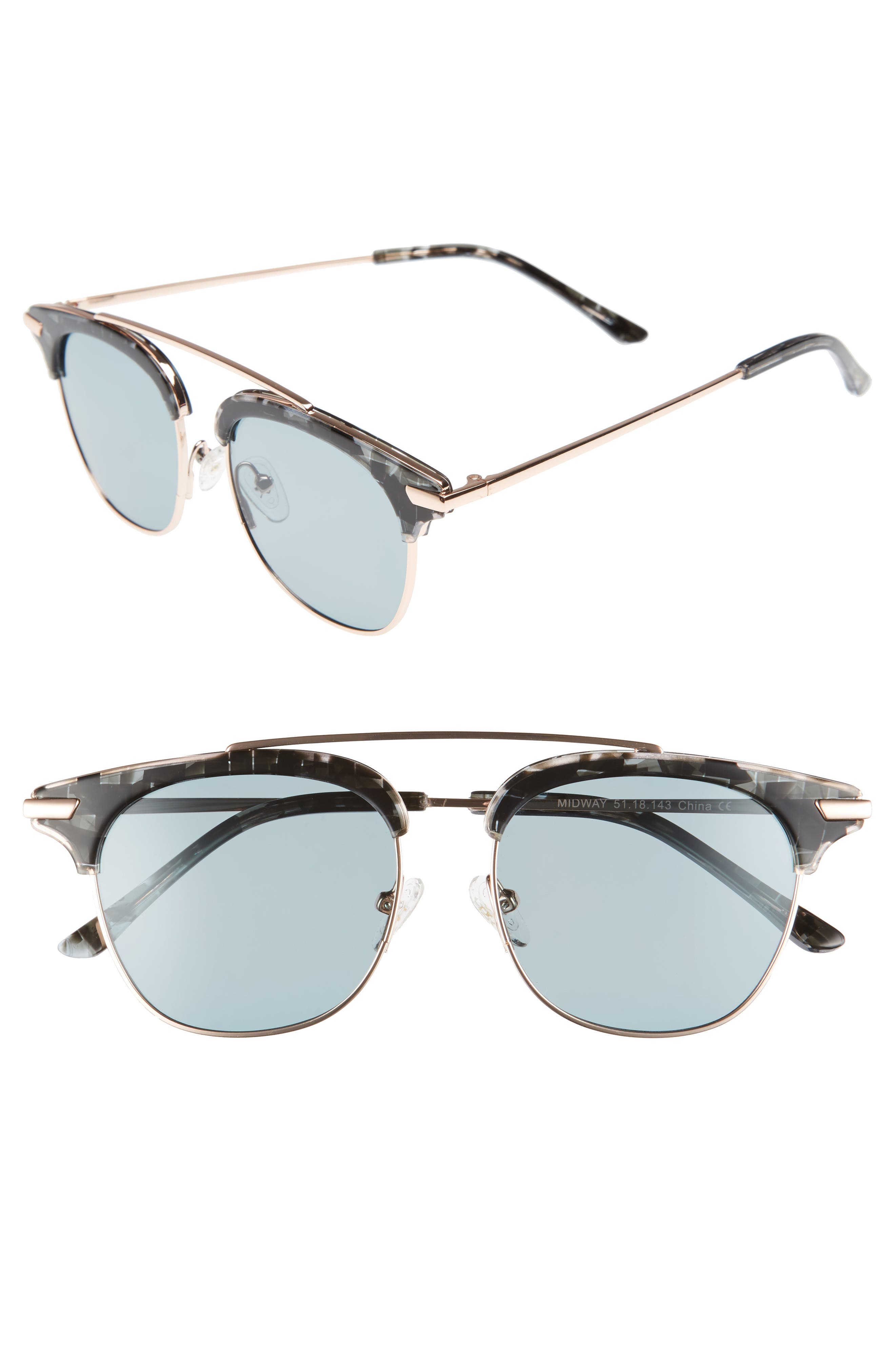 Midway 51mm Polarized Brow Bar Sunglasses,                             Main thumbnail 1, color,                             020