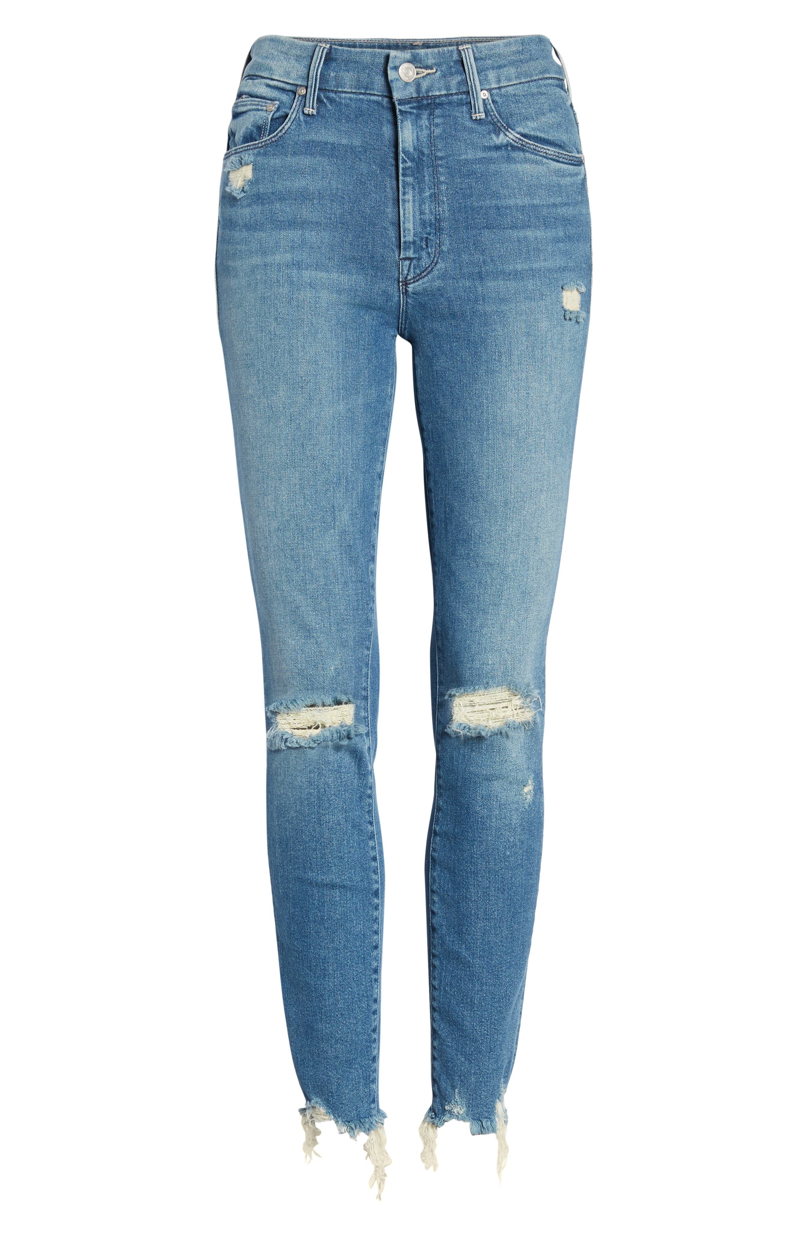 The Looker High Waist Fray Ankle Skinny Jeans,                             Alternate thumbnail 7, color,                             426