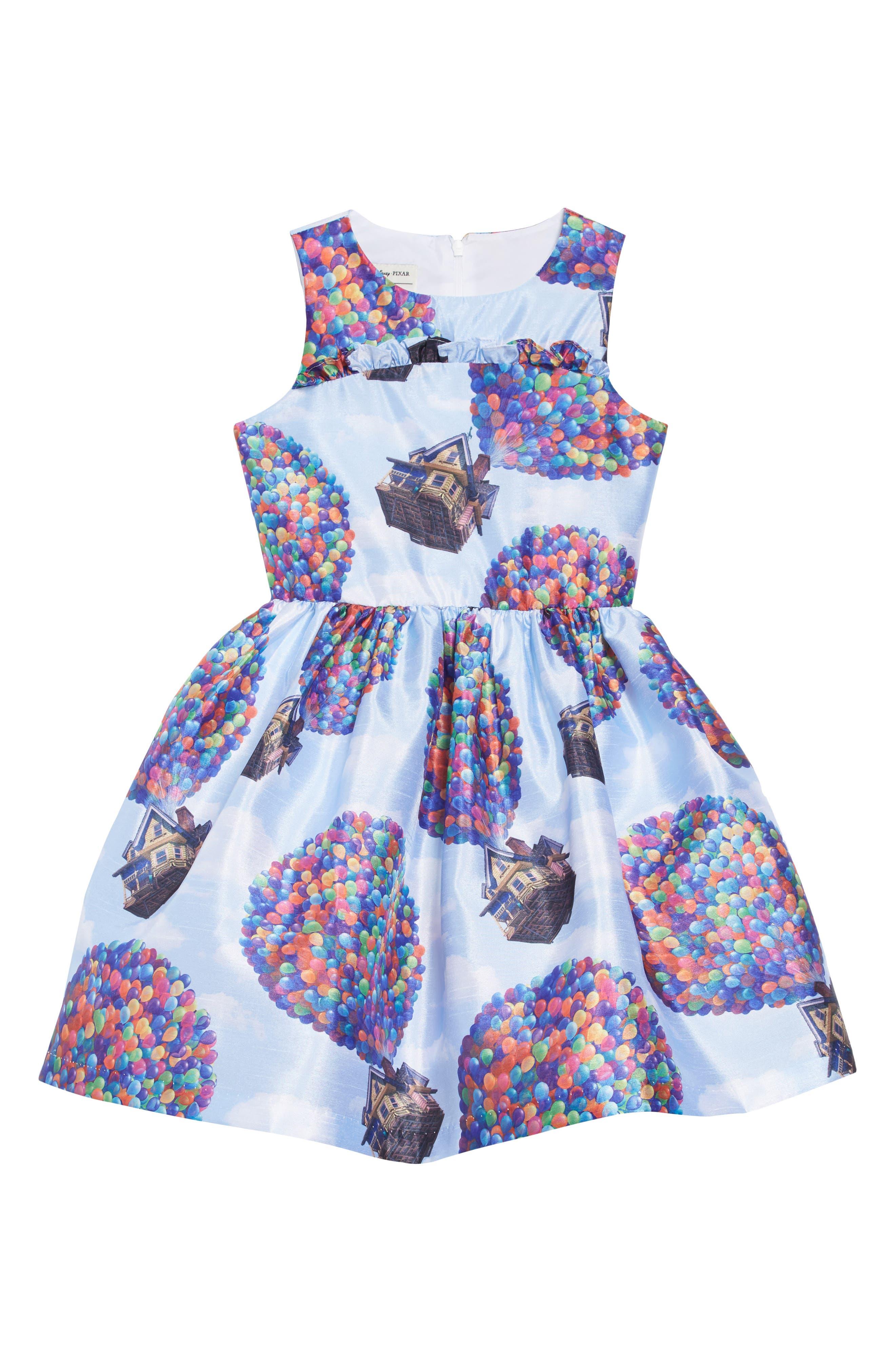 PIPPA & JULIE,                             x Disney<sup>®</sup> Up House Fit & Flare Dress,                             Main thumbnail 1, color,                             BLUE