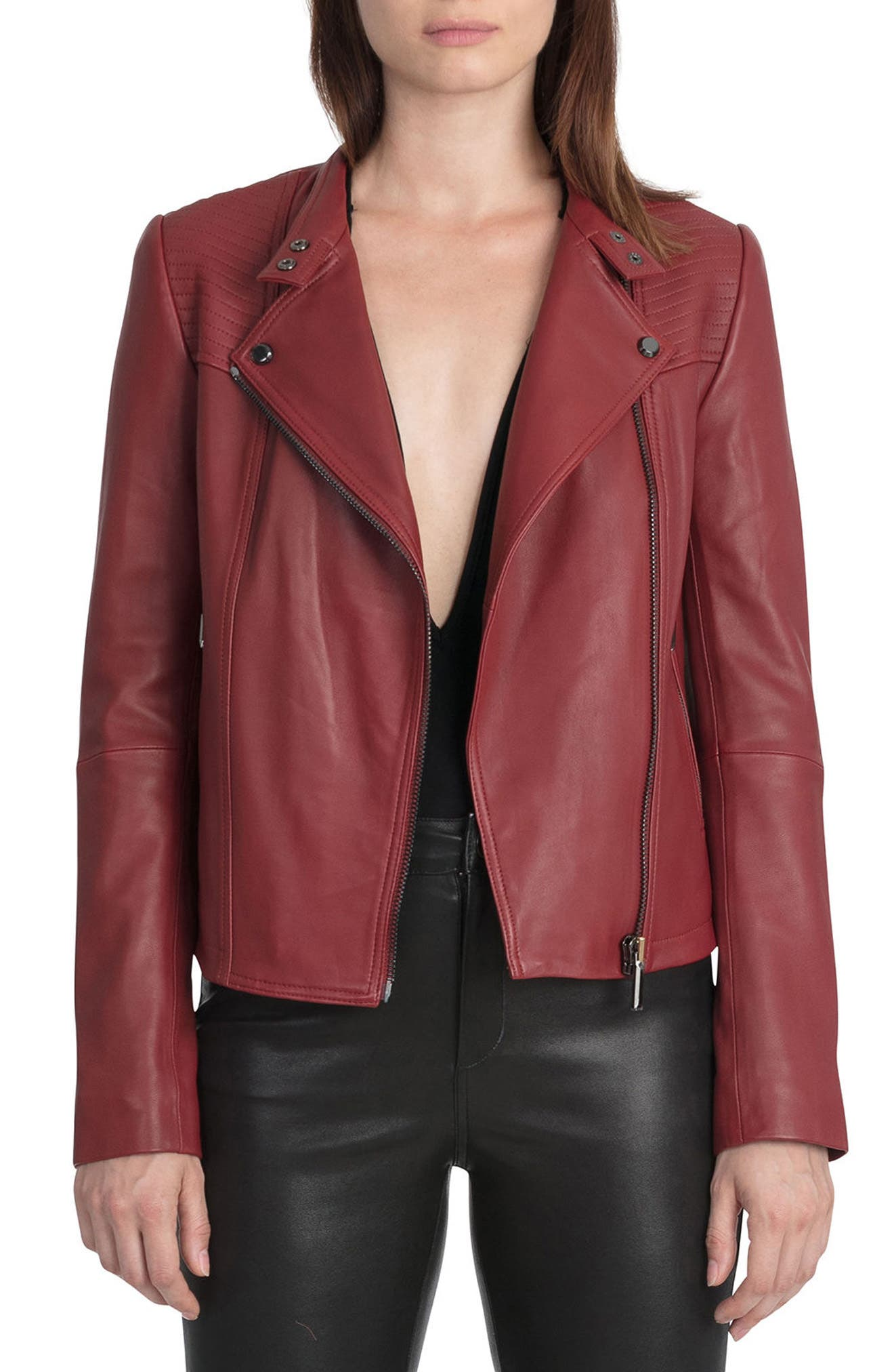 Bagatelle Quilted Lambskin Leather Moto Jacket,                             Main thumbnail 2, color,
