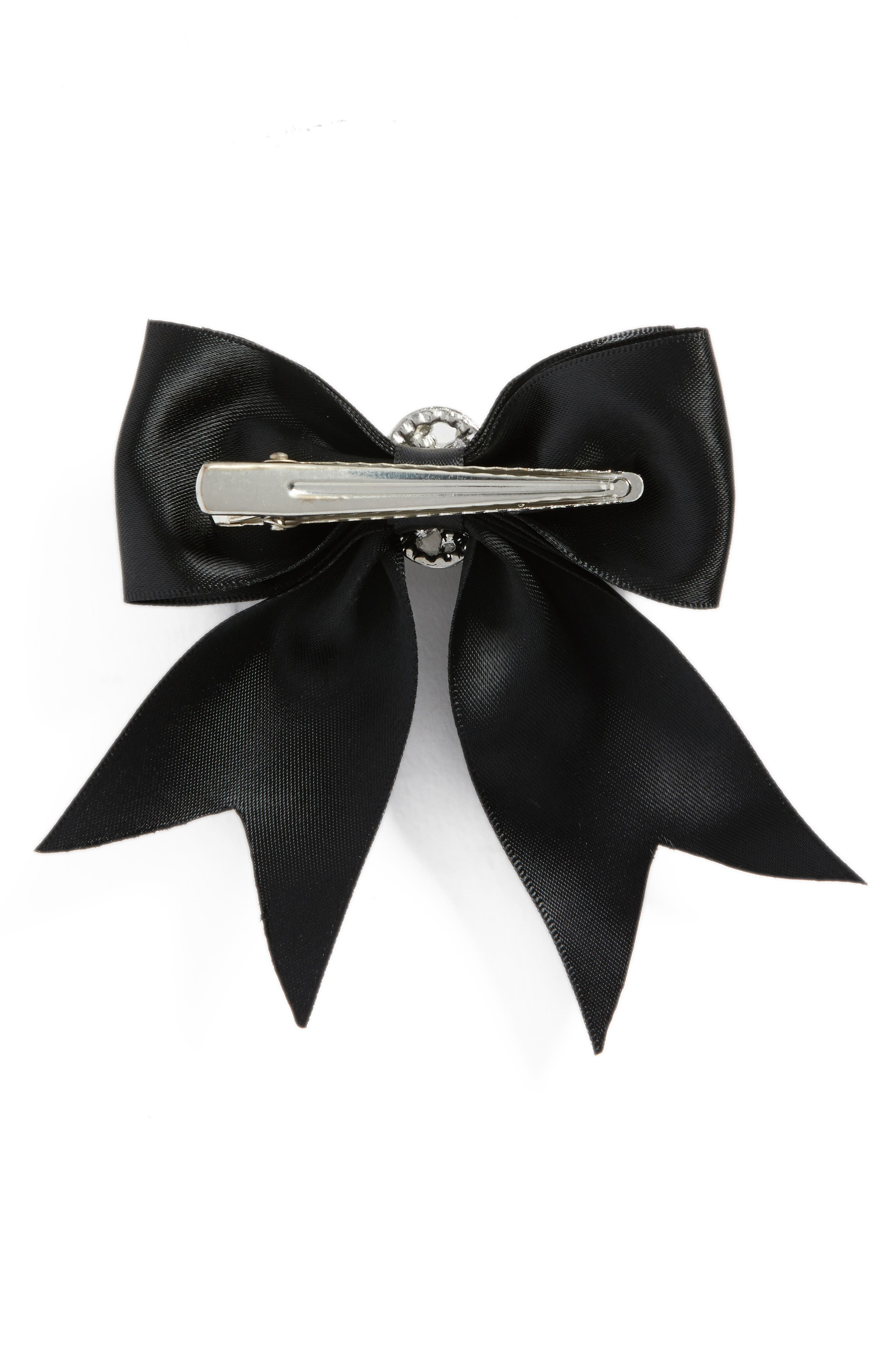 Crystal Bow Clip,                             Alternate thumbnail 2, color,                             BLACK