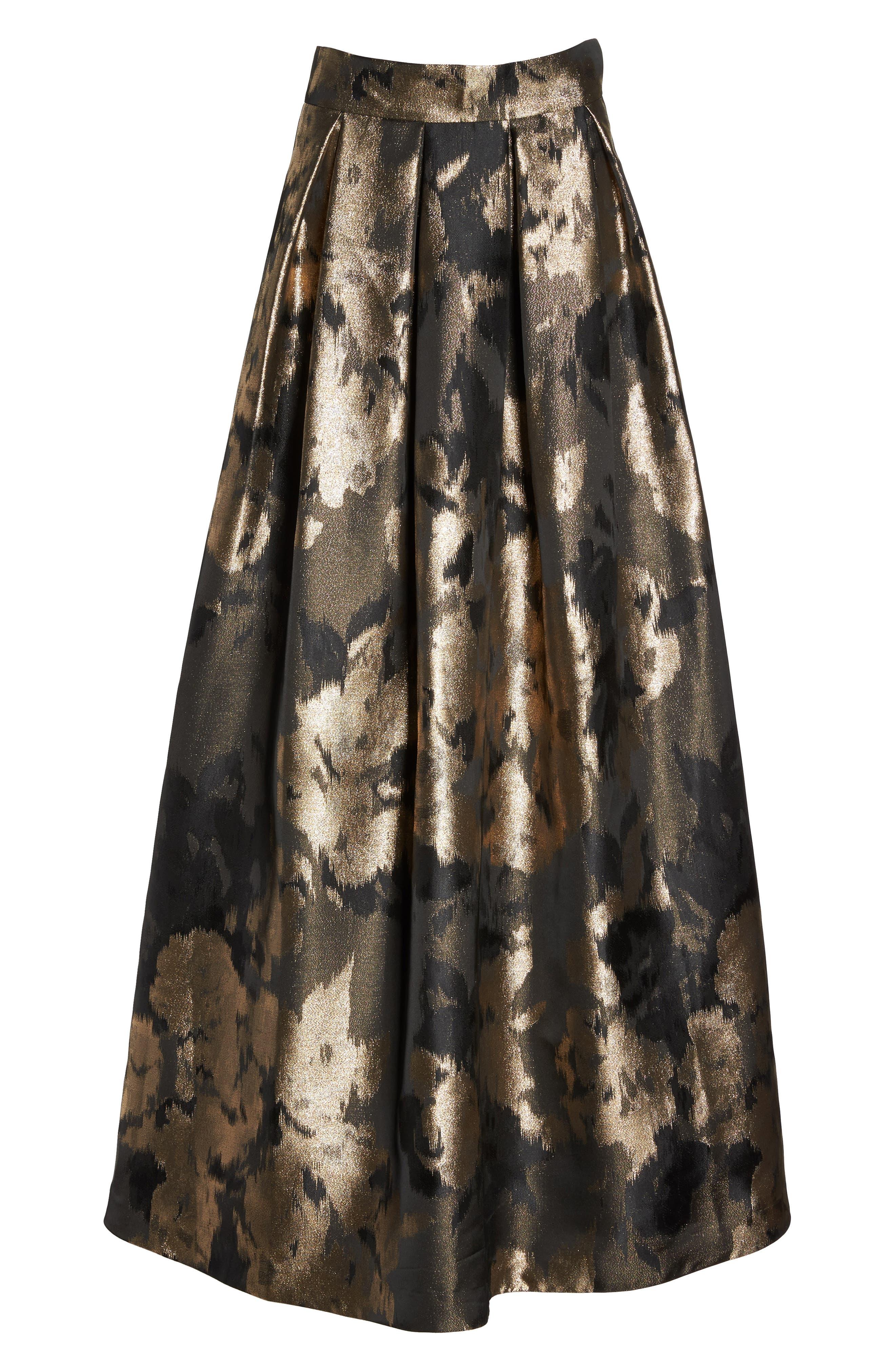 Metallic Jacquard Ball Skirt,                             Alternate thumbnail 6, color,