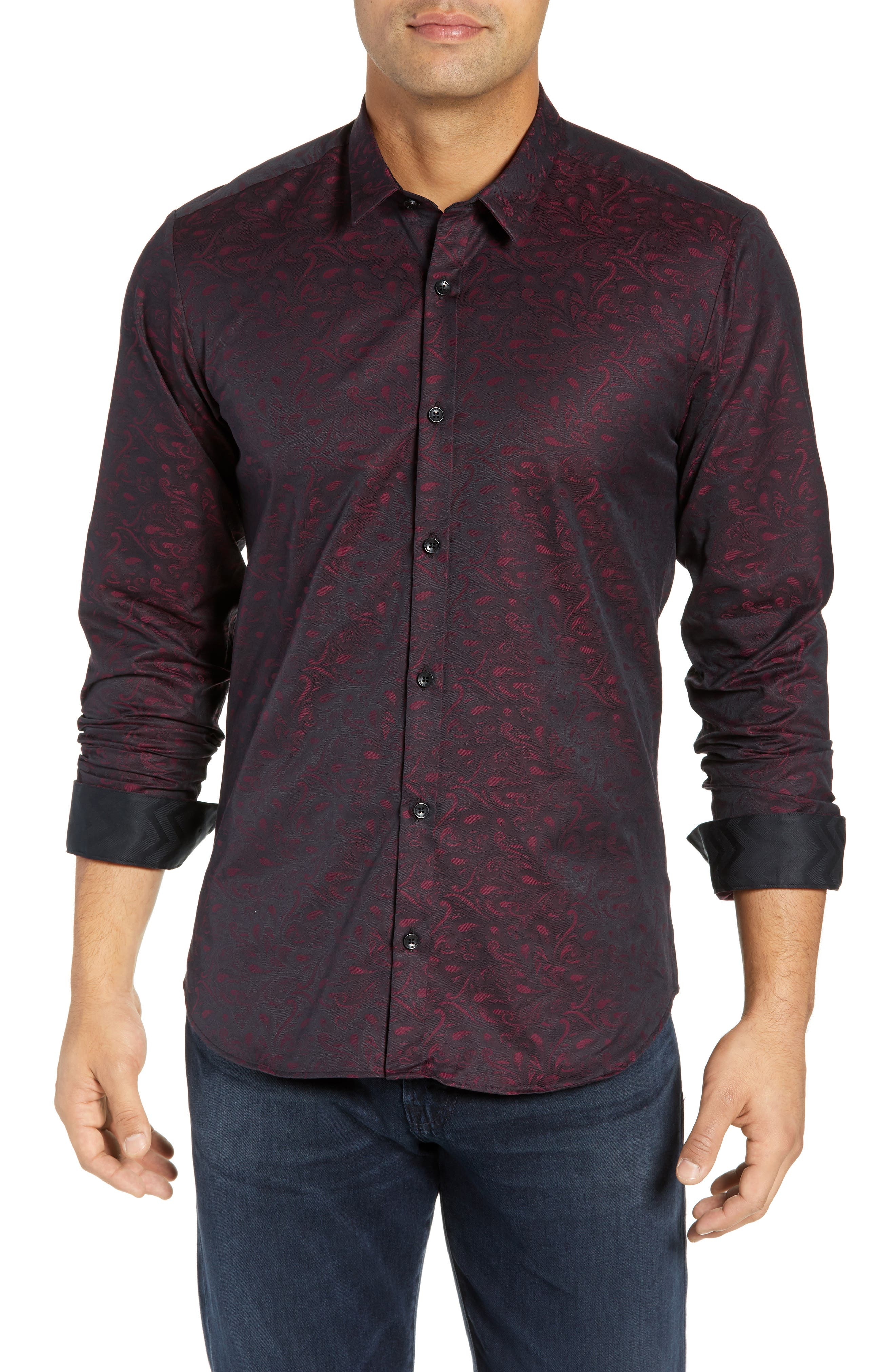 JARED LANG Trim Fit Paisley Sport Shirt in Maroon