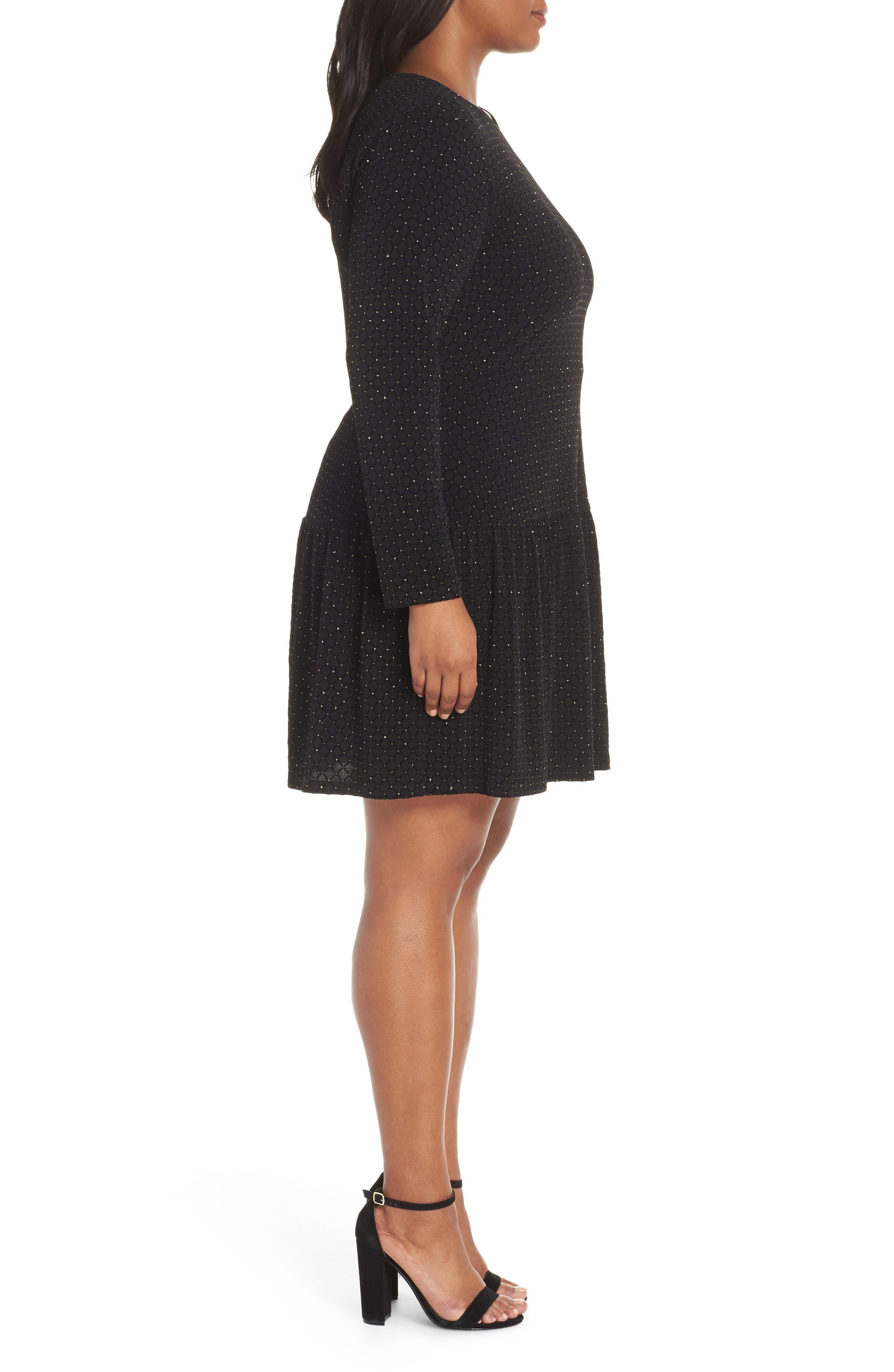 Long Sleeve Pleated Skirt Dress,                             Alternate thumbnail 3, color,                             BLACK/ GOLD