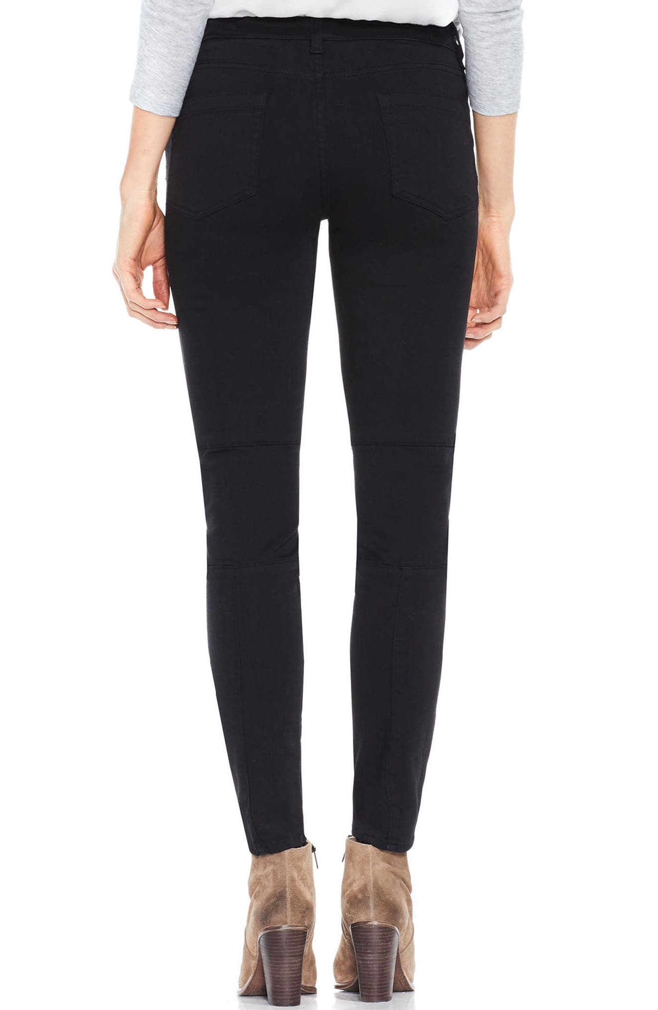 Two by Vince Camuto D-Luxe Twill Moto Jeans,                             Alternate thumbnail 2, color,                             RICH BLACK