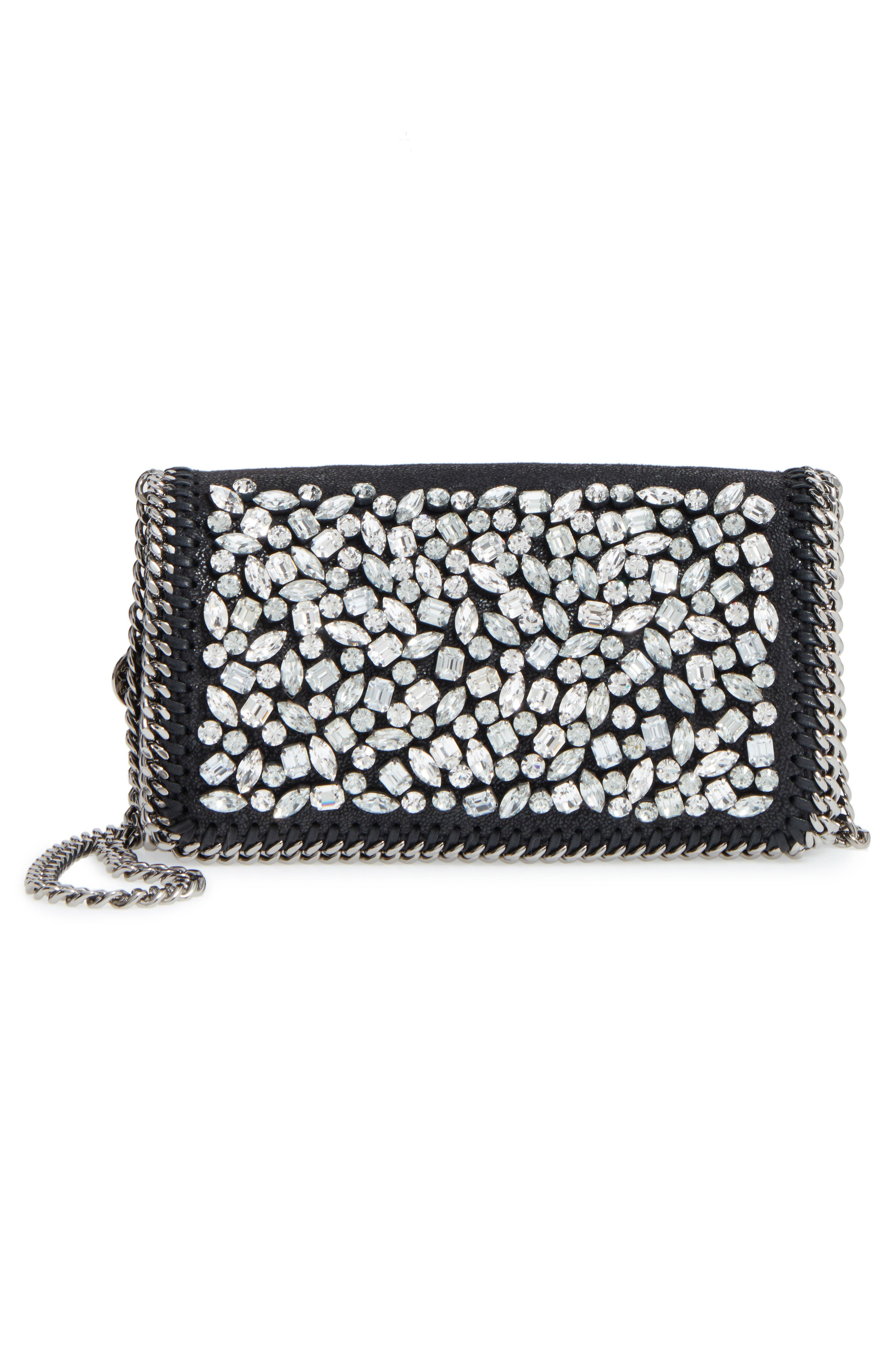 Small Fallabella Crystal Faux Leather Crossbody Bag,                             Alternate thumbnail 3, color,                             008